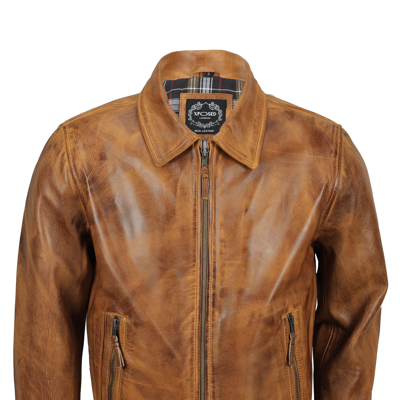 0b5907c0992 Mens Soft Real Leather Collar Bomber Jacket Vintage Biker Style ...