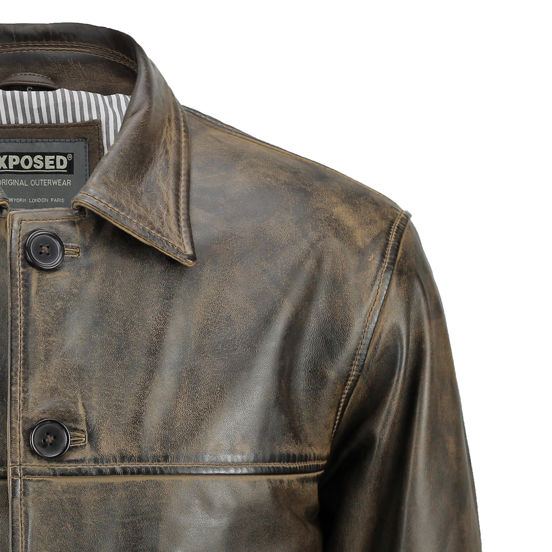 Men/'s Vera Pelle Marrone Antico Vintage Jacket Coat