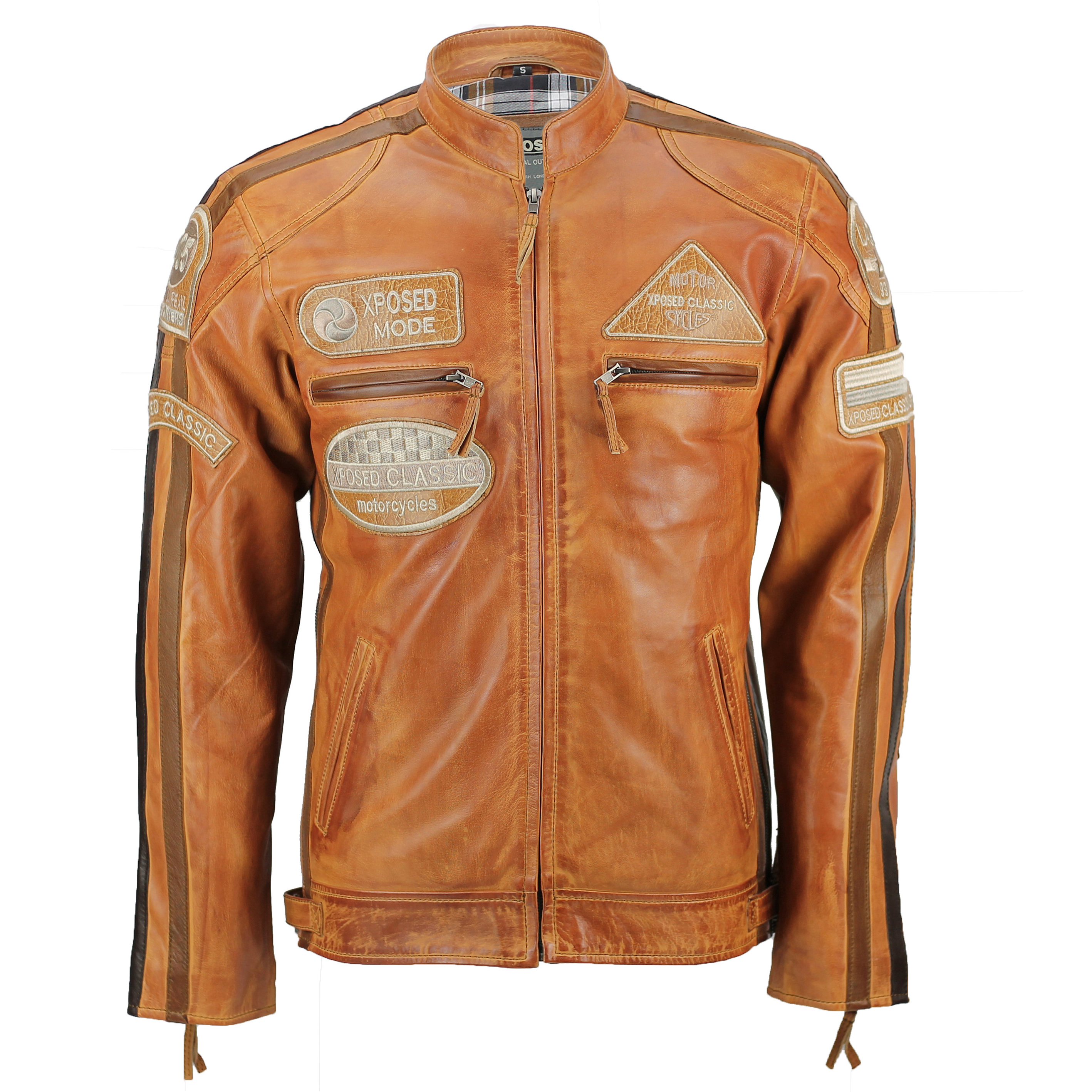 0137a36dd364 XPOSED Mens Real Leather Tan Brown Racing Badges Biker Jacket ...