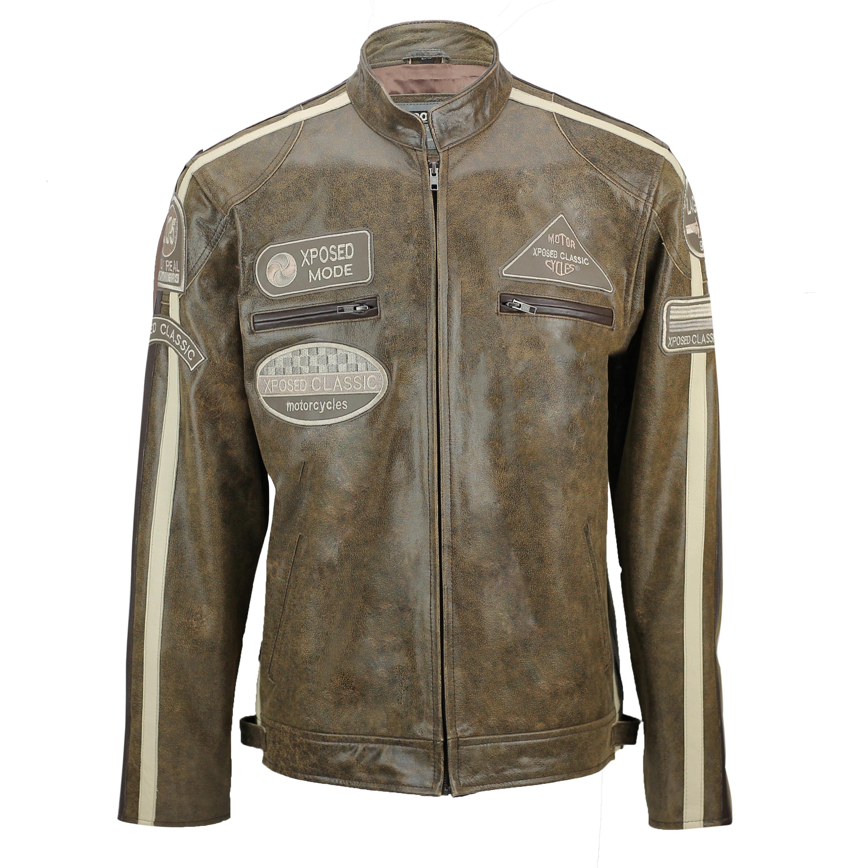 Mens Navy Blue Cafe Racer Retro Vintage Real Leather Biker Jacket
