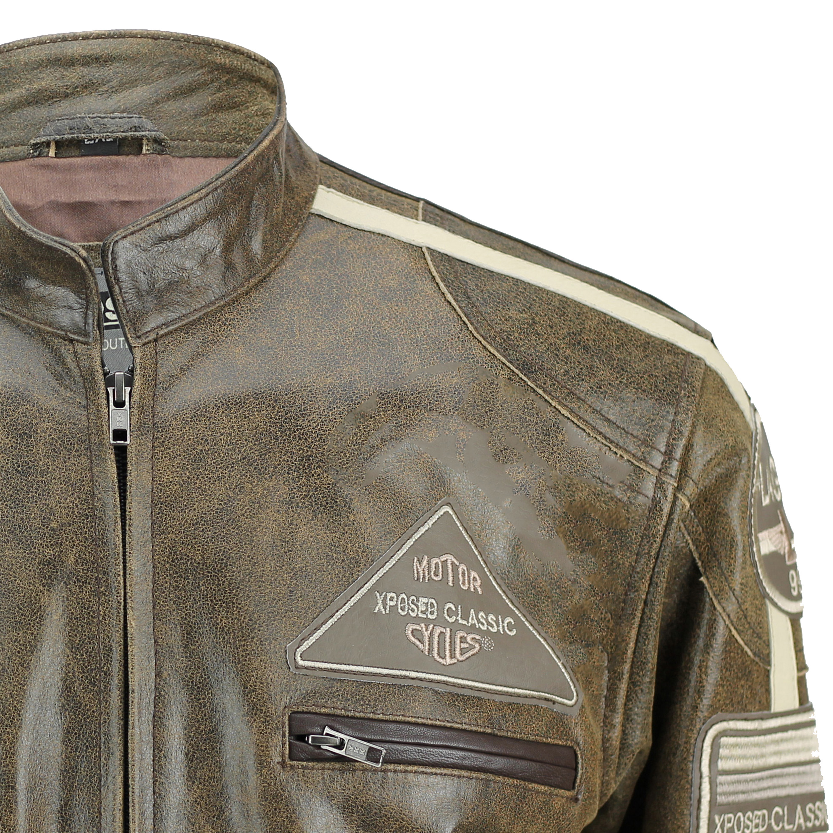 Retro leather biker jacket