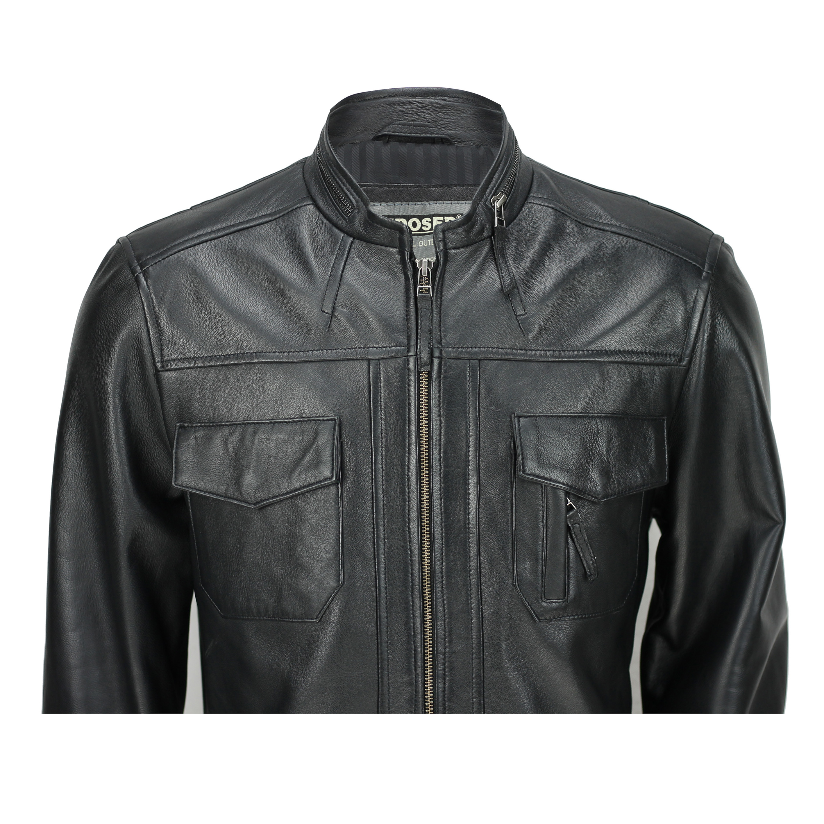 Mens New Brown Real Leather Retro Smart Casual Zipped Biker Style Bomber Jacket
