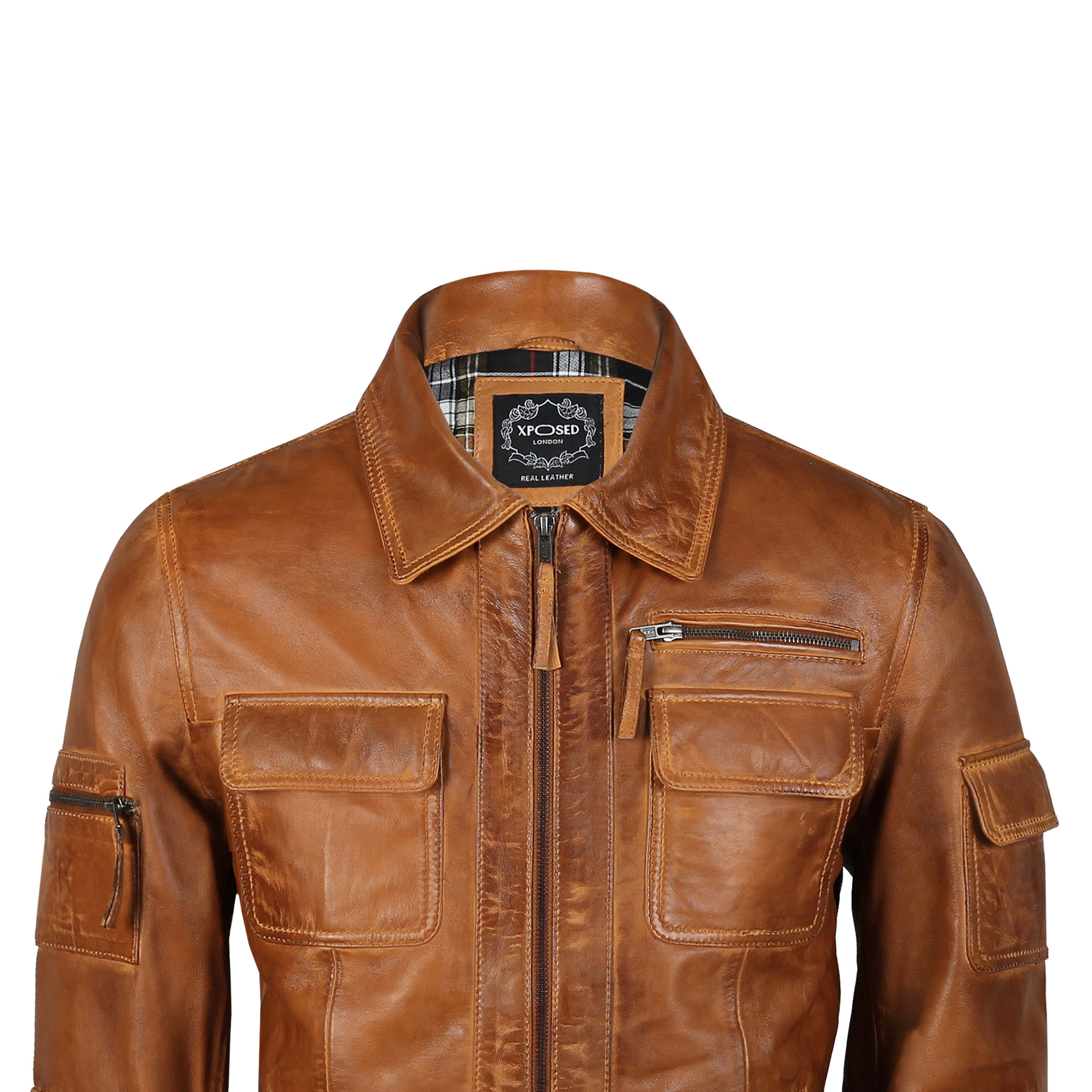 Mens Real Leather Jacket Multi Pockets Retro Collar Biker Style Smart Casual