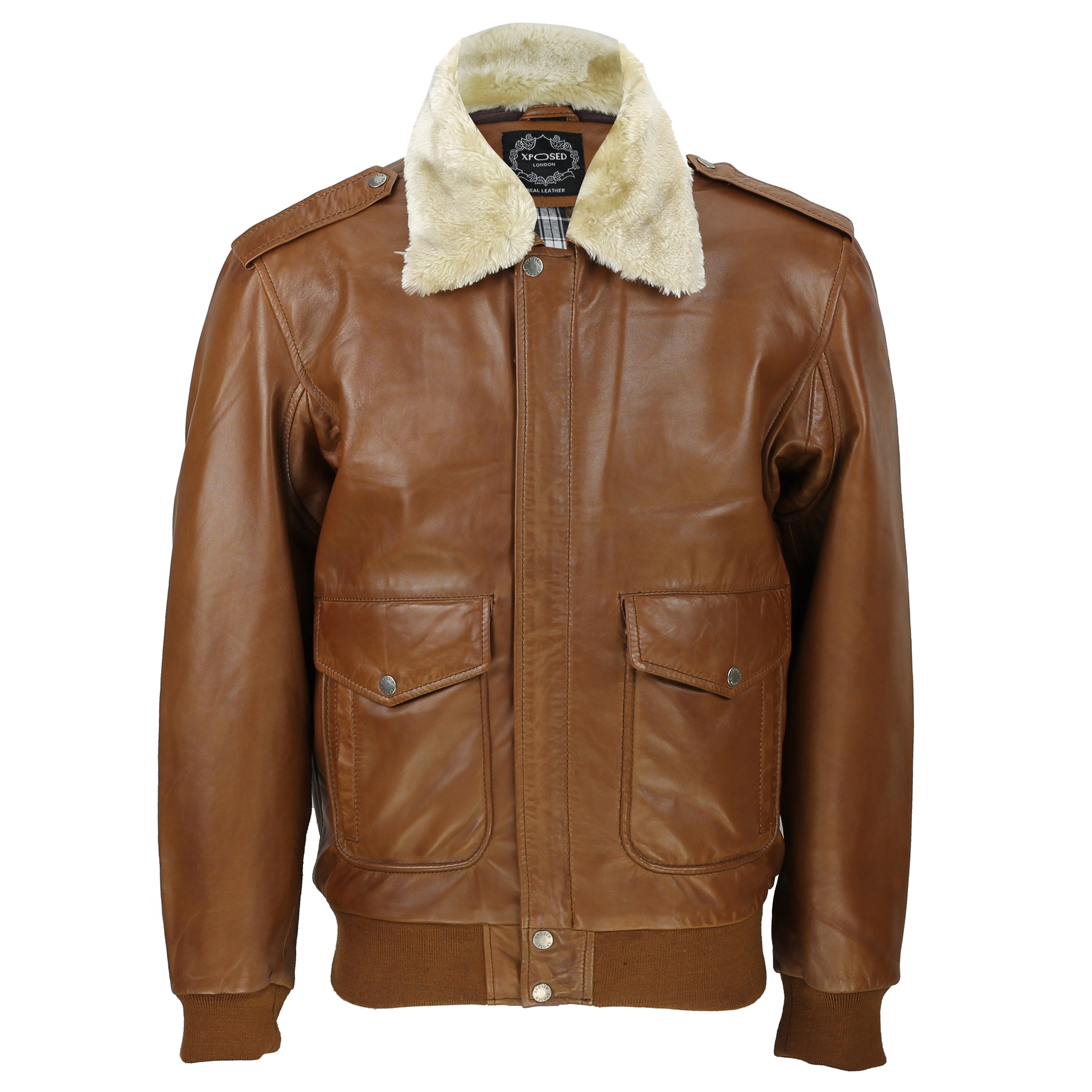 7a23082e0 Details about Mens Real Leather Tan Brown Vintage Pilot Removable Fur  Collar Bomber Jacket