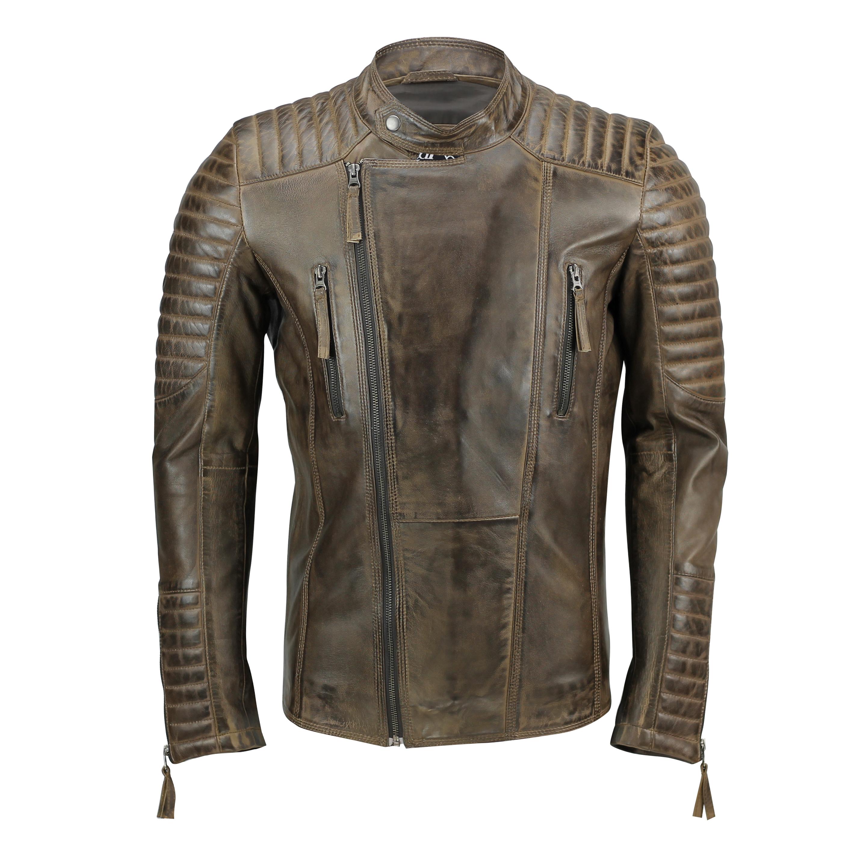 New Mens Slim Fit Real Leather Biker Jacket Urban Vintage ...