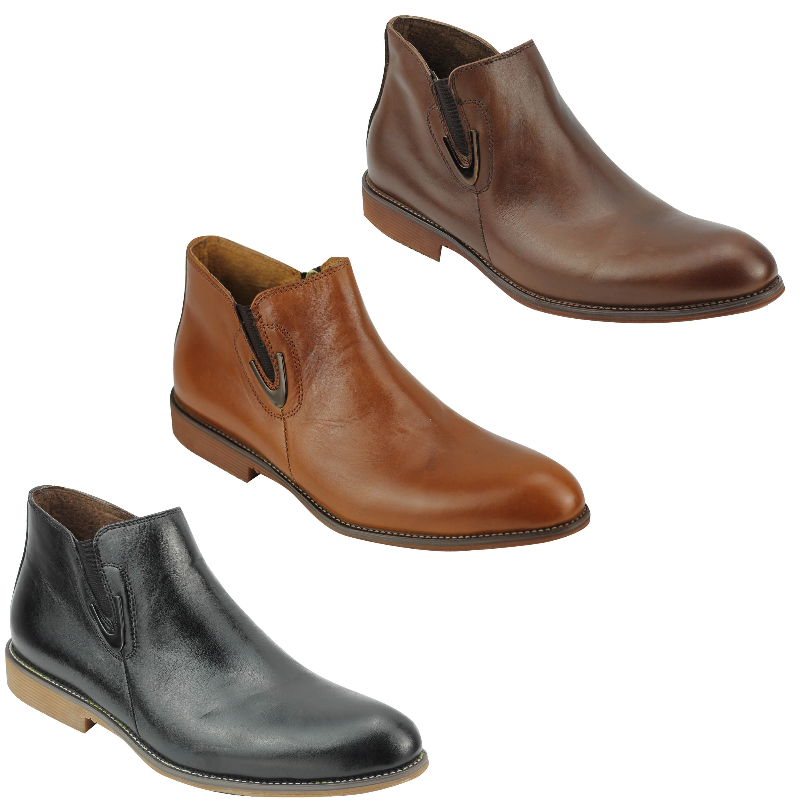 1fe48b672b59 Details about New Mens Real Leather Vintage Chelsea Boots Classic Zip Ankle  Shoes Black Brown