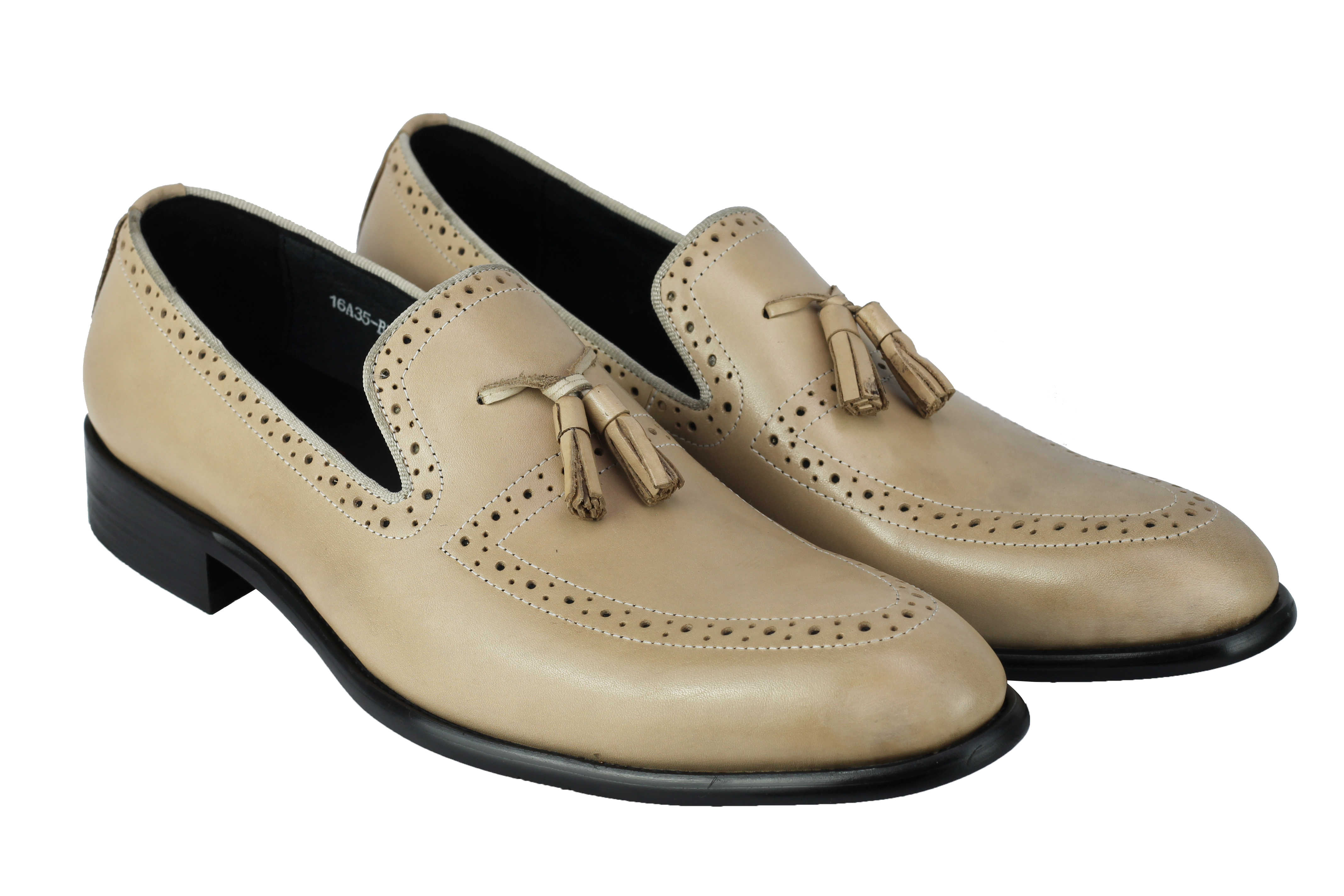 Mens-Real-Leather-Tassel-Loafers-Retro-Hand-Made-Brogue-Slip-on-Dress-Shoes thumbnail 3
