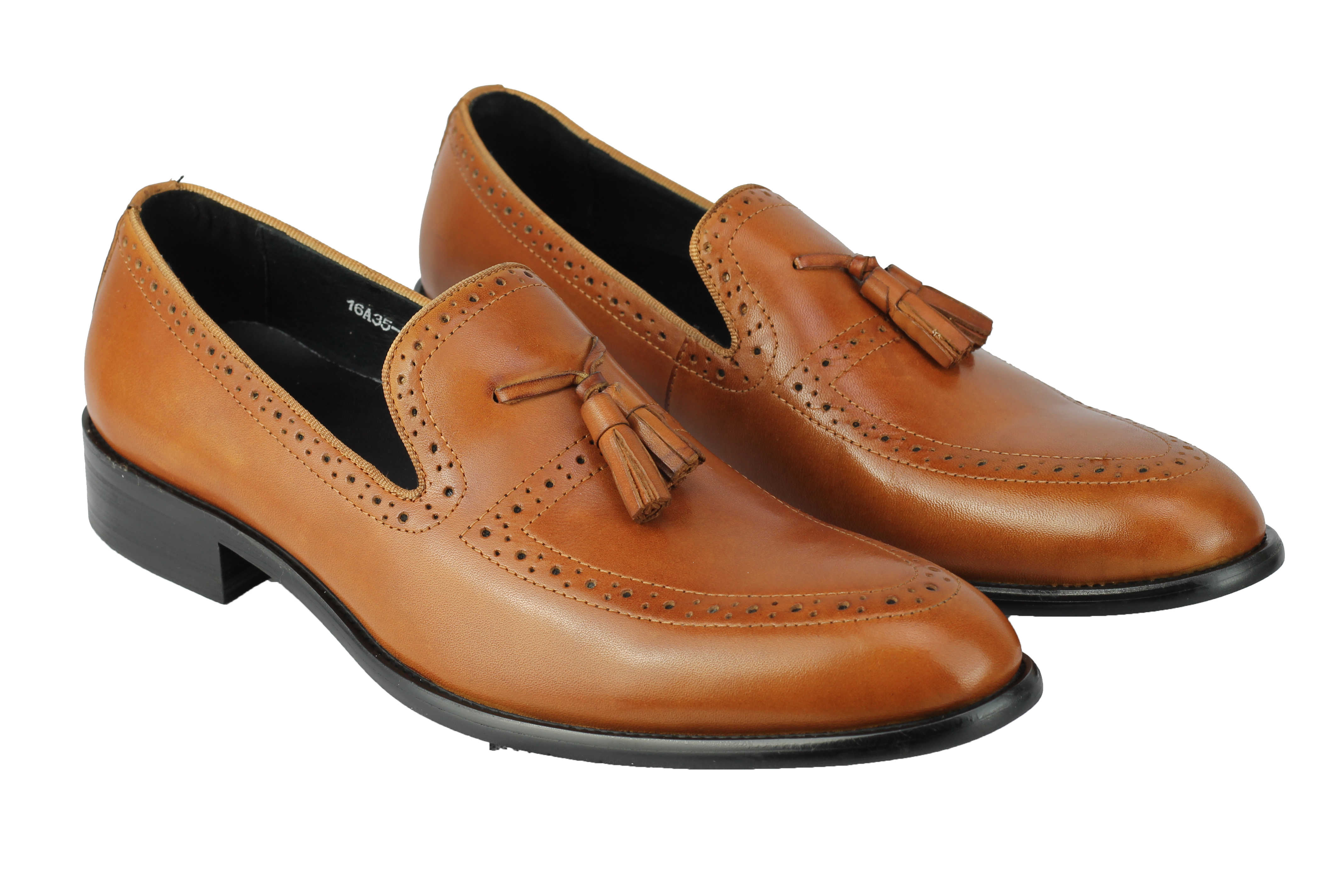 Mens-Real-Leather-Tassel-Loafers-Retro-Hand-Made-Brogue-Slip-on-Dress-Shoes thumbnail 16