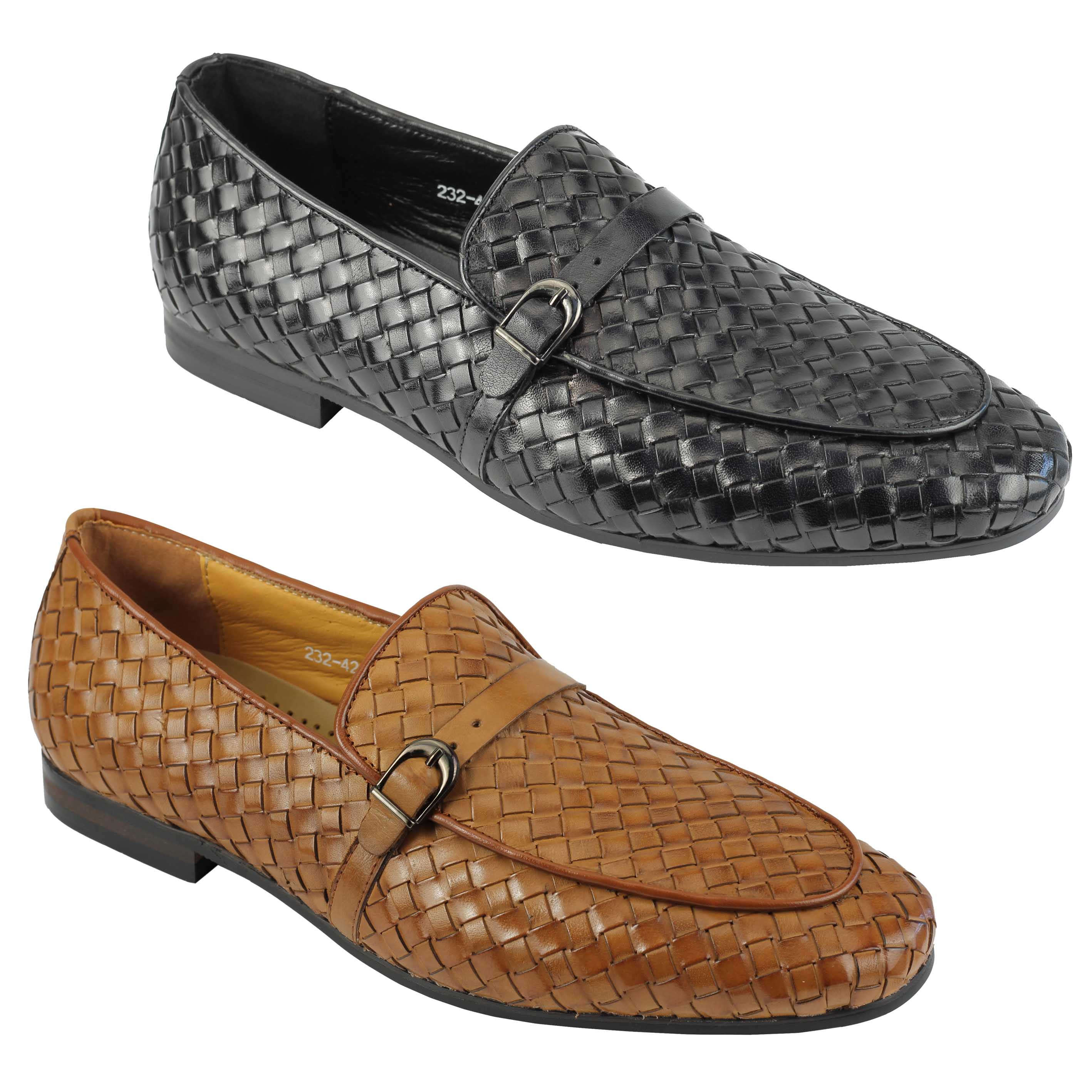 bd1f870f48c Details about Mens Black   Tan Hand Woven Real Leather Loafers Smart MOD  Vintage Driving Shoes