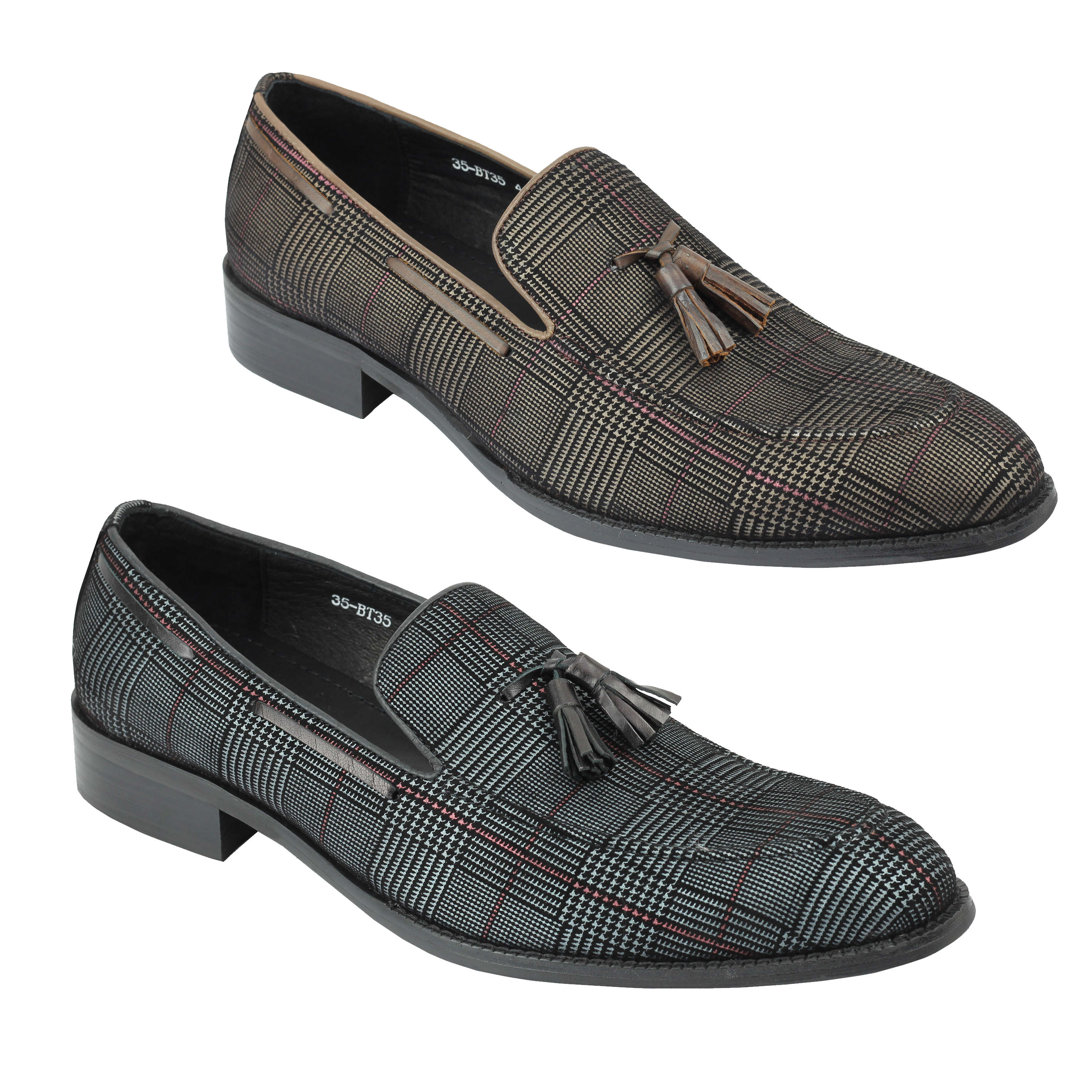 babbd15677ff Details about Xposed London Mens Real Leather Tweed Tassel Loafers 1920s Retro  Vintage Shoes
