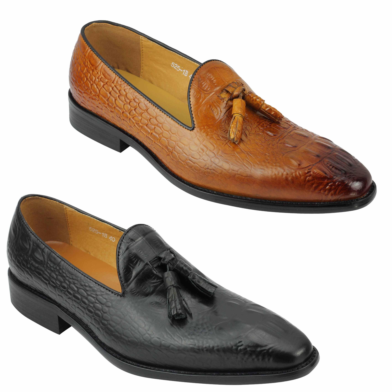 b4ec1013cd3 New Men Black Tan Real Leather Snakeskin Look Tassel Loafers Shoes 6 7 8 9  10 11