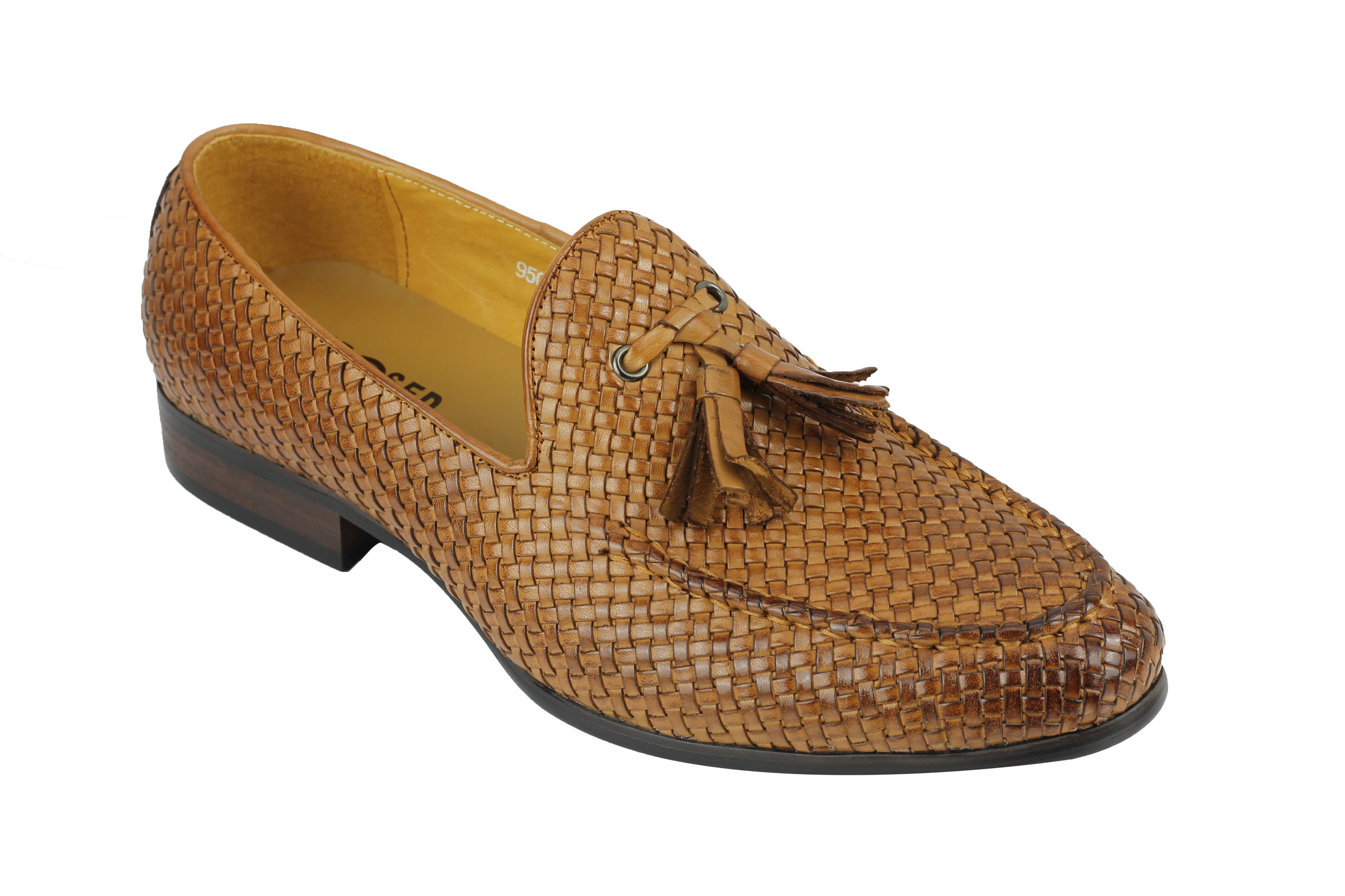 Herren Hand Small Woven Woven Woven Real Leder Tassel Loafers Smart MOD Vintage Schuhes 949fa4