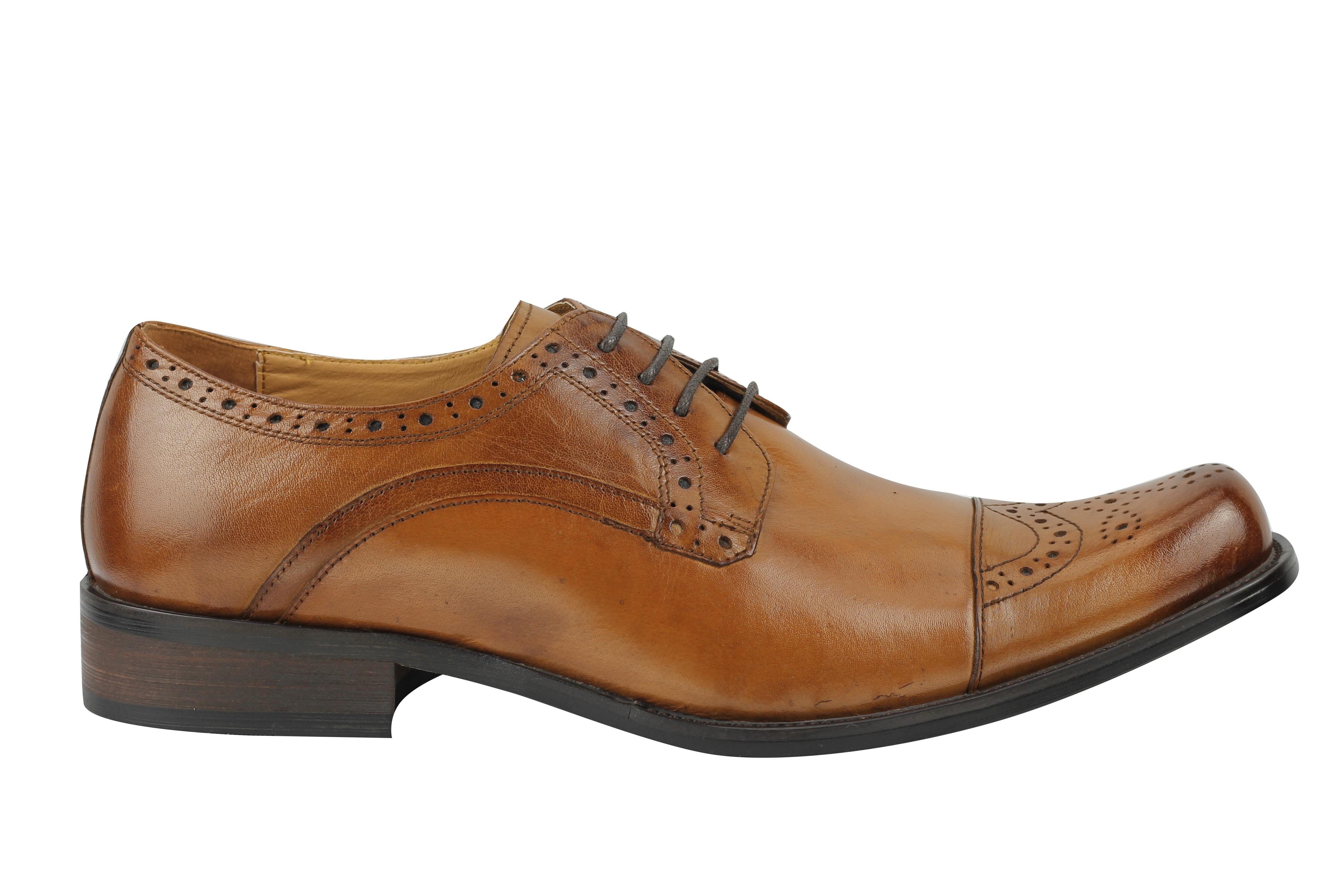 New Mens Vintage Polished Real Leather Tan Lace Up Shoes