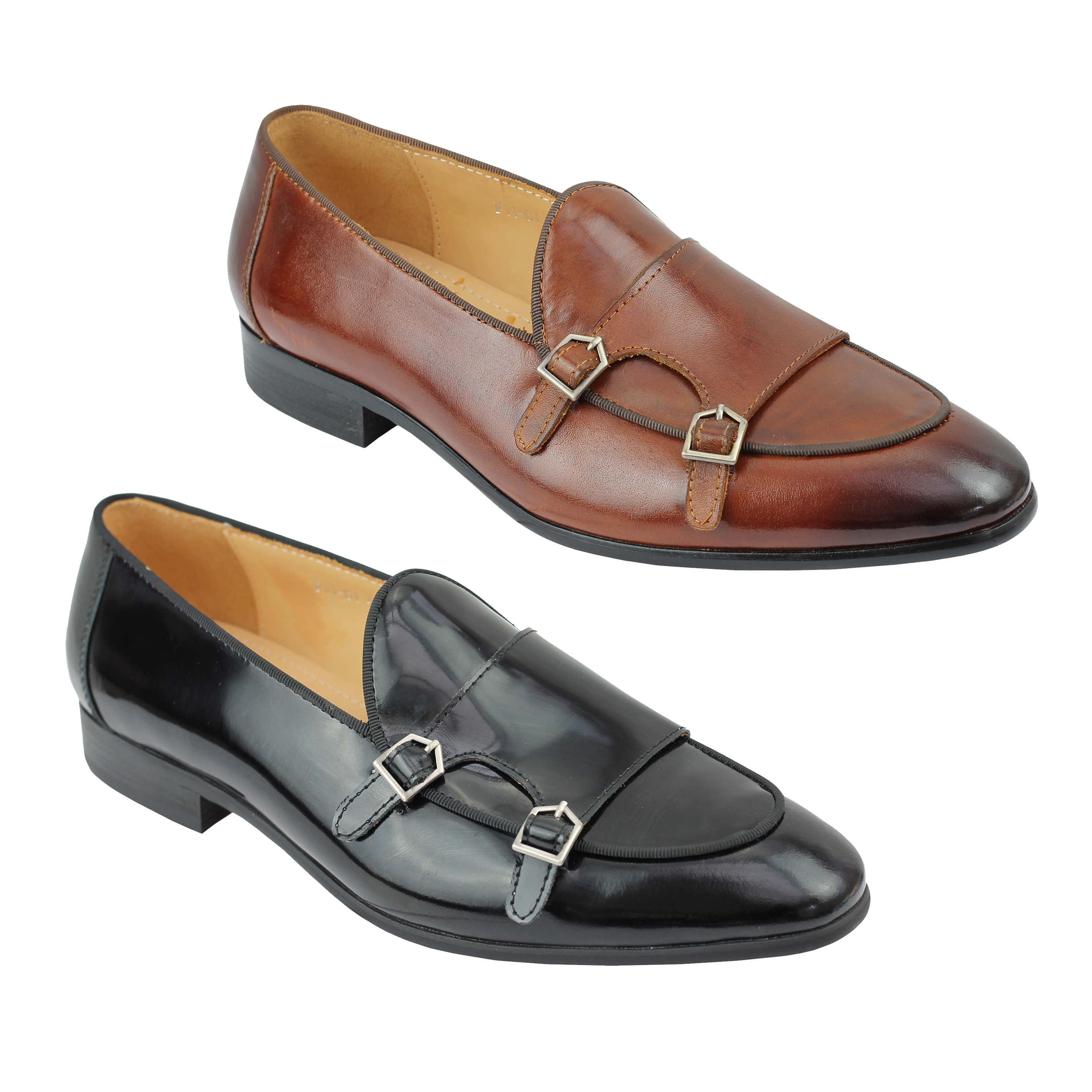 best place for new concept promo codes Details about Mens Real Leather Black Patent Monk Shoes Low Cut Smart  Casual Vintage Loafer