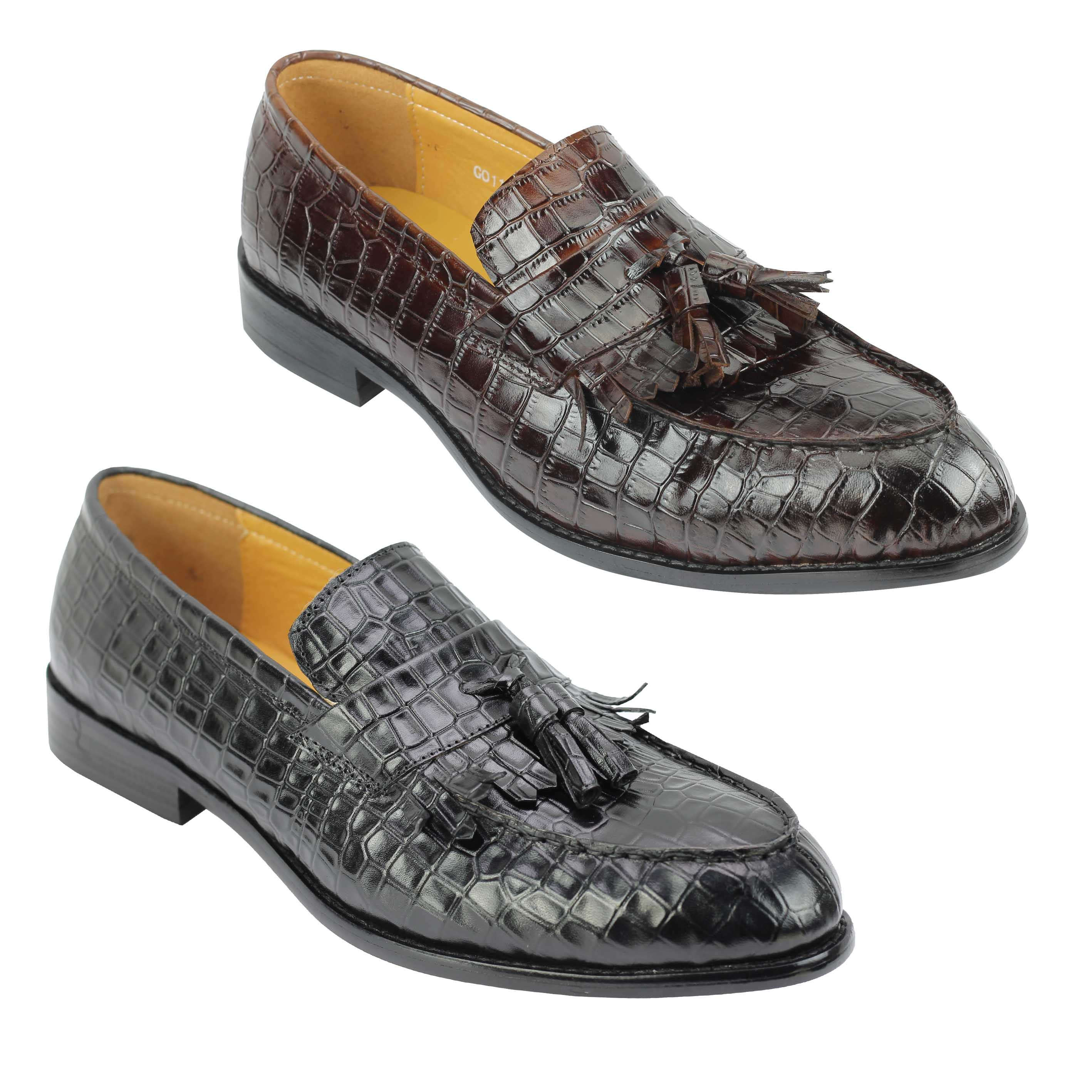 1efee0491a933e Details about Mens Polished Real Leather Tassel Loafers Crocodile Print  Slip Shoes Black Brown