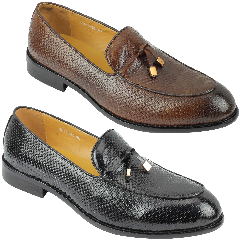 Mens Real Leather 2 Tone Burnished Brown Tassel MOD Loafer Shoes
