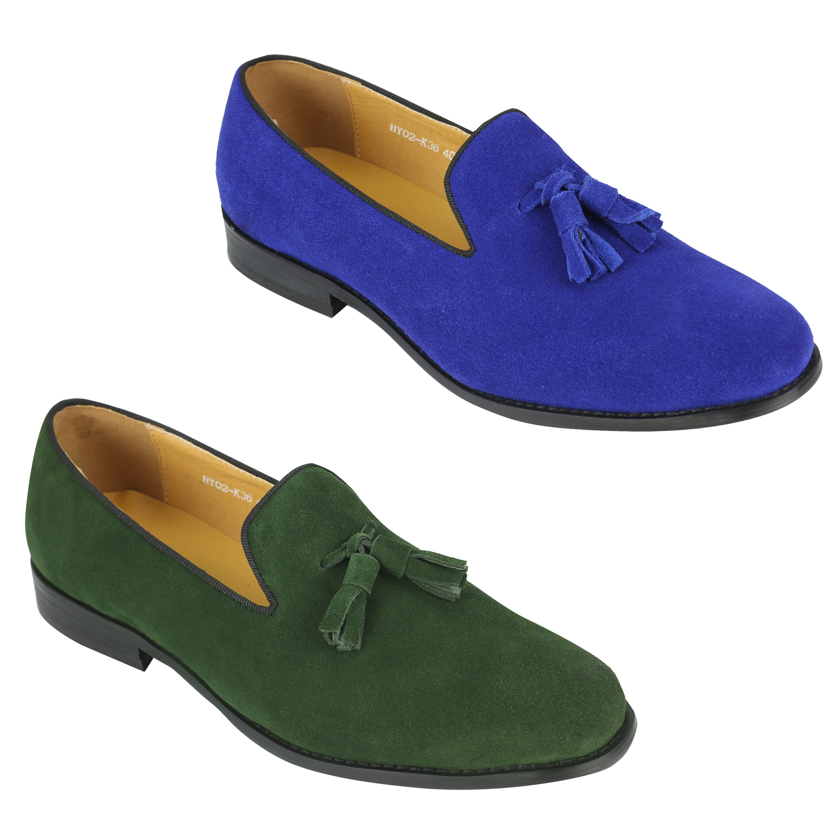 367d67bbe072 Details about New Mens Real Leather Slip on Smart Casual Tassel Loafers  Green Blue Suede Shoes