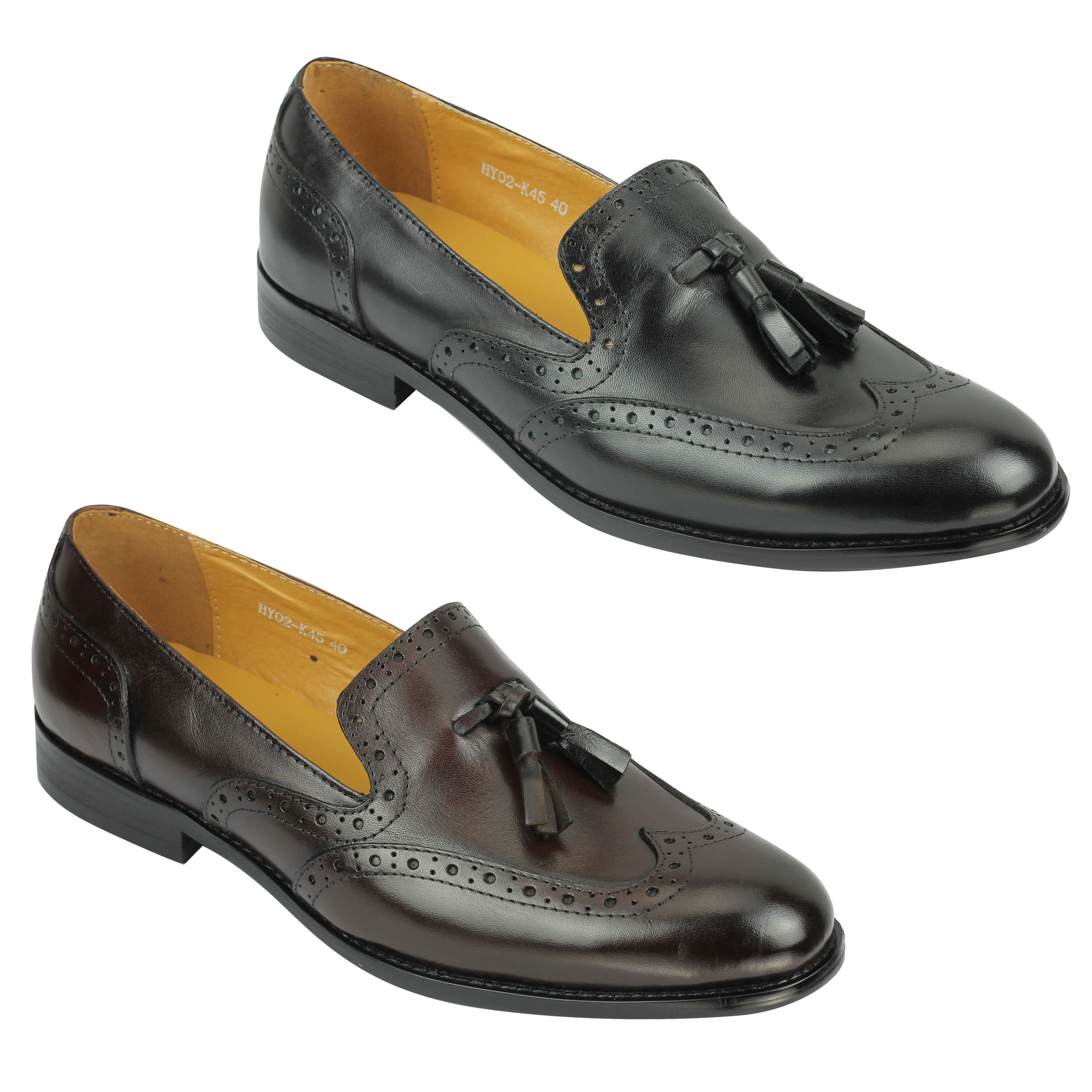 7d4c18cdaee Details about Mens 1920s Vintage Real Leather Tassel Loafers Slip on Brogue Shoes  Brown Black