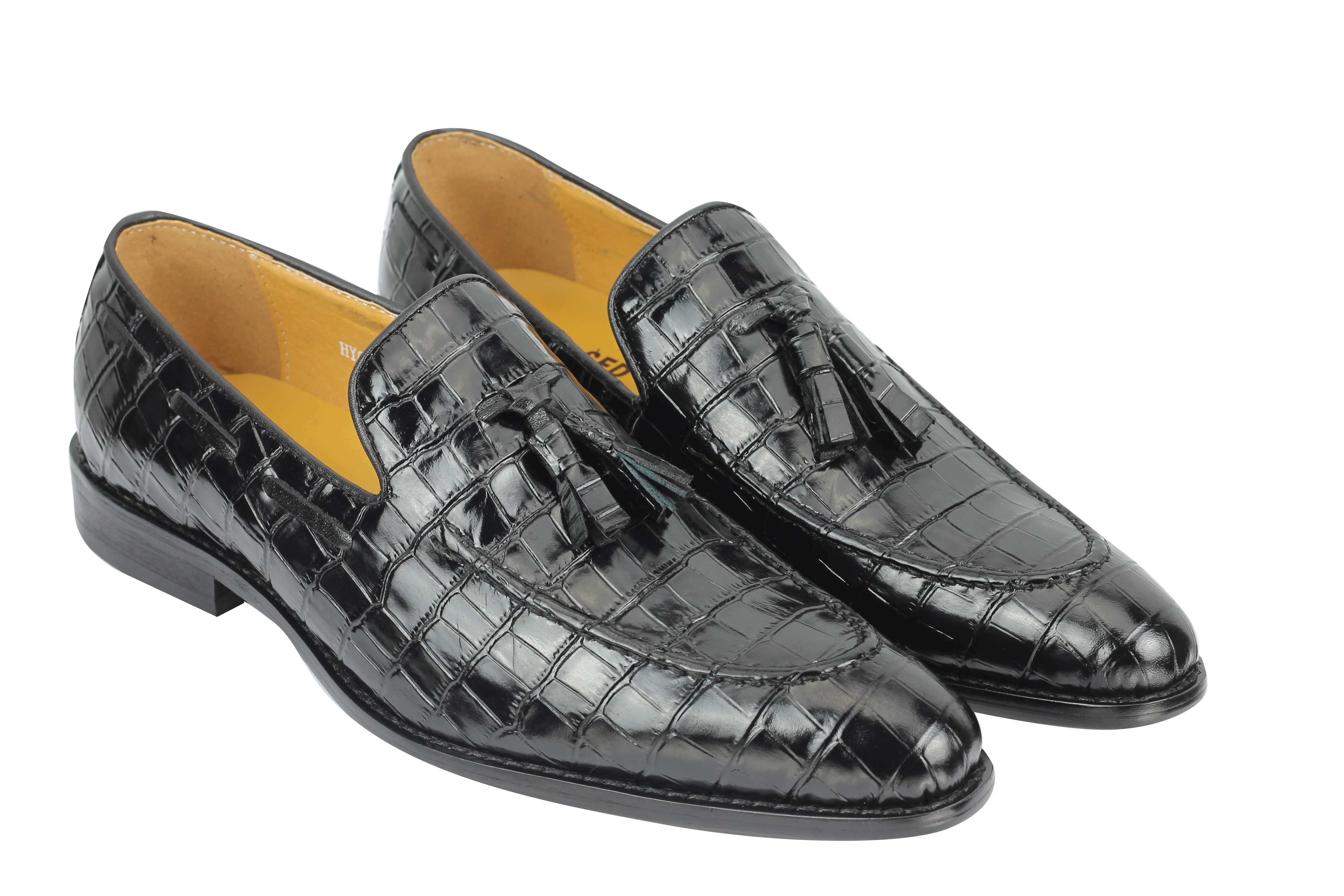cc81095c5c255 Mens Crocodile Print Shiny Real Leather Tassel Loafers Shoes Vintage ...
