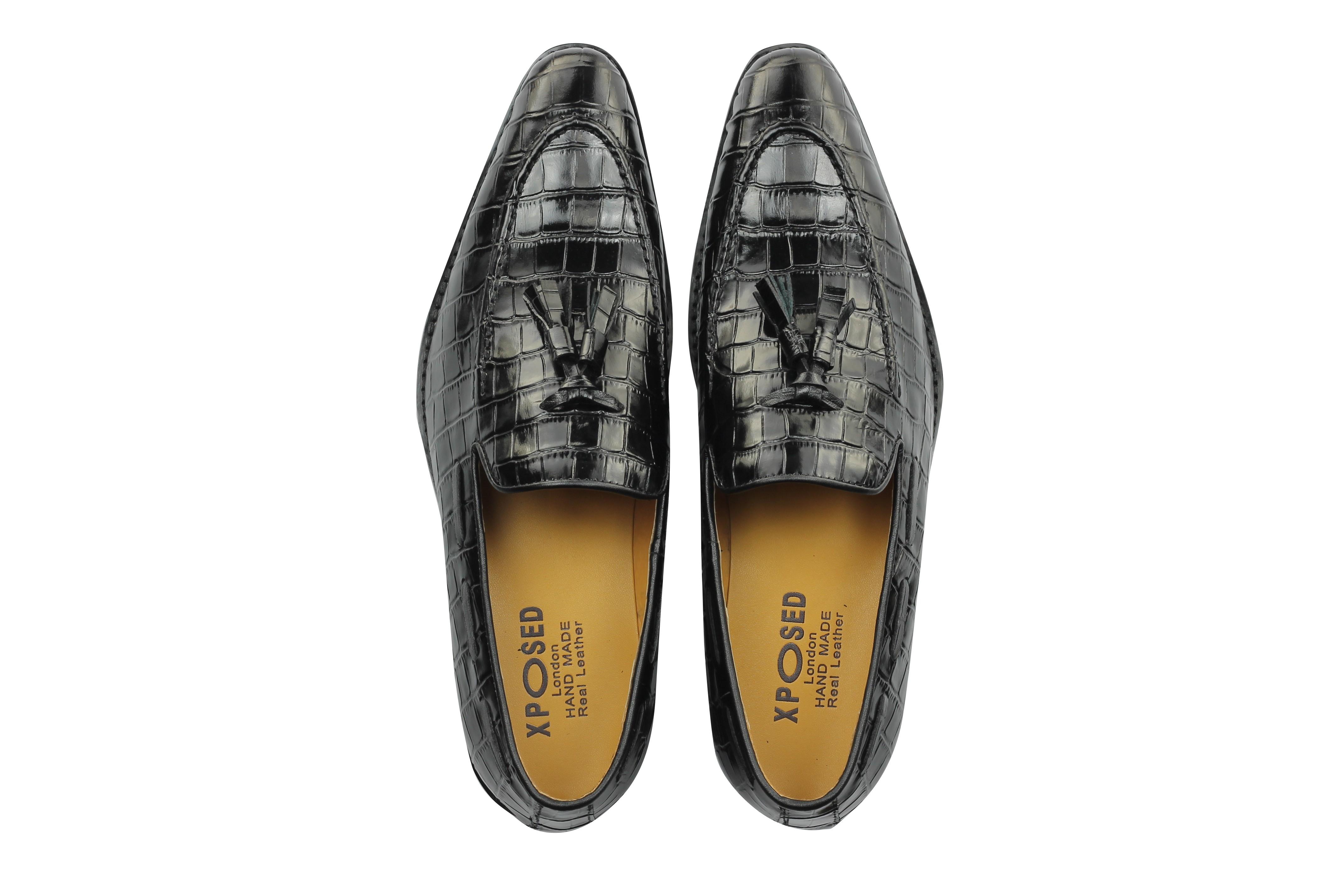 f3092af8d1a5a3 Mens Crocodile Print Shiny Real Leather Tassel Loafers Shoes Vintage ...
