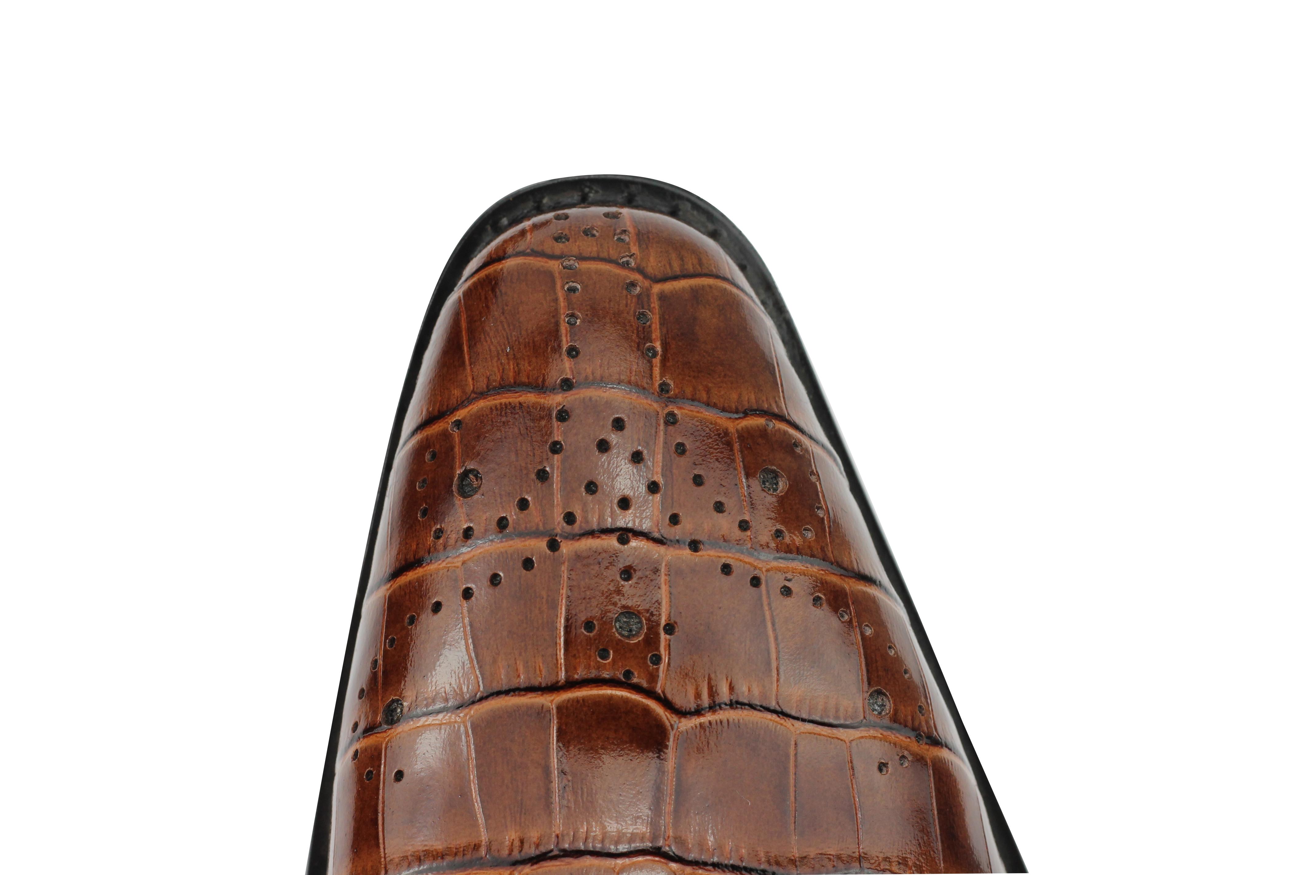 mens real leather black brown monk strap croc skin effect smart slip on shoes ebay. Black Bedroom Furniture Sets. Home Design Ideas
