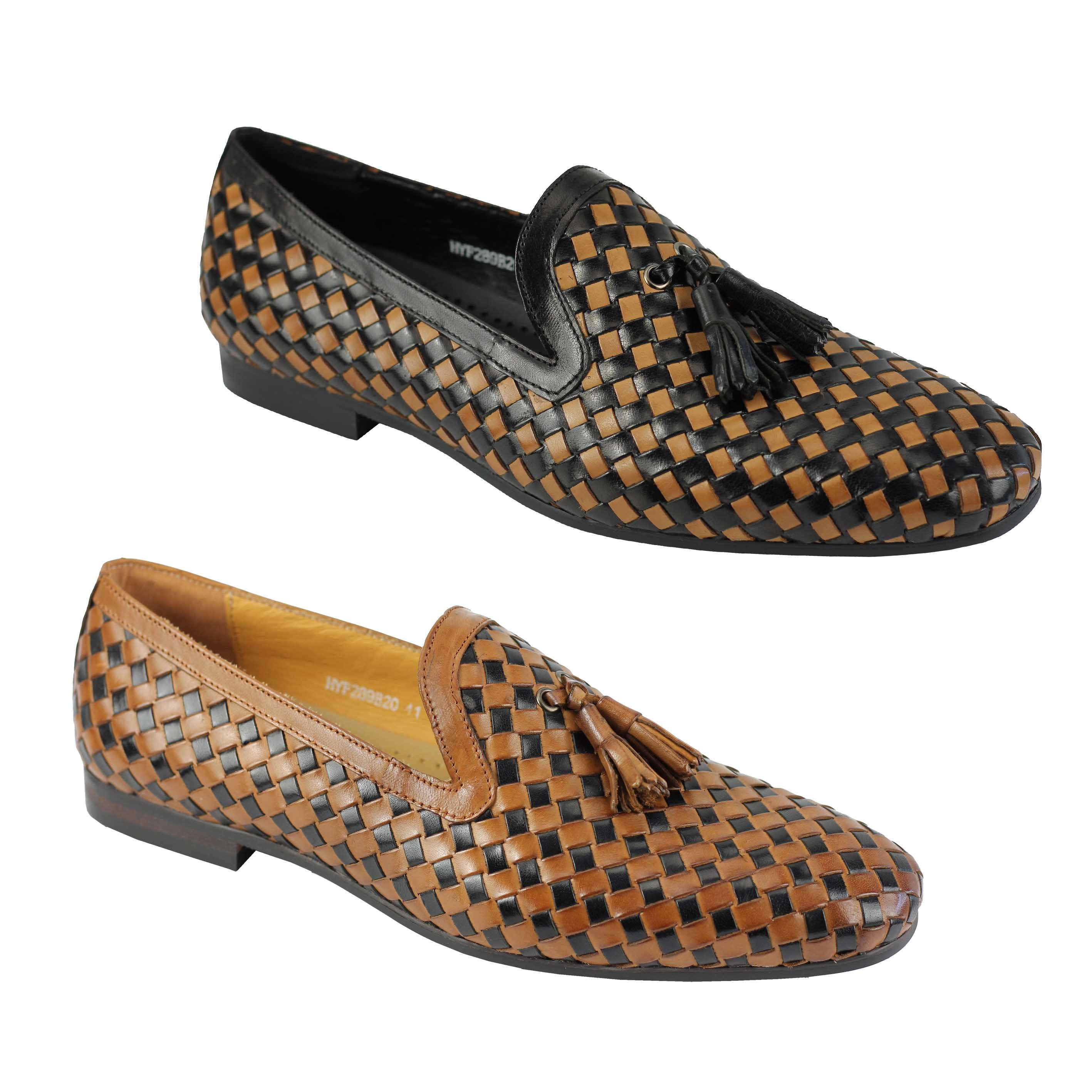 1d8db6441d5d21 Details about Mens Black Brown 2 Tone Woven Real Leather MOD Tassel Loafer  Slip on Shoes