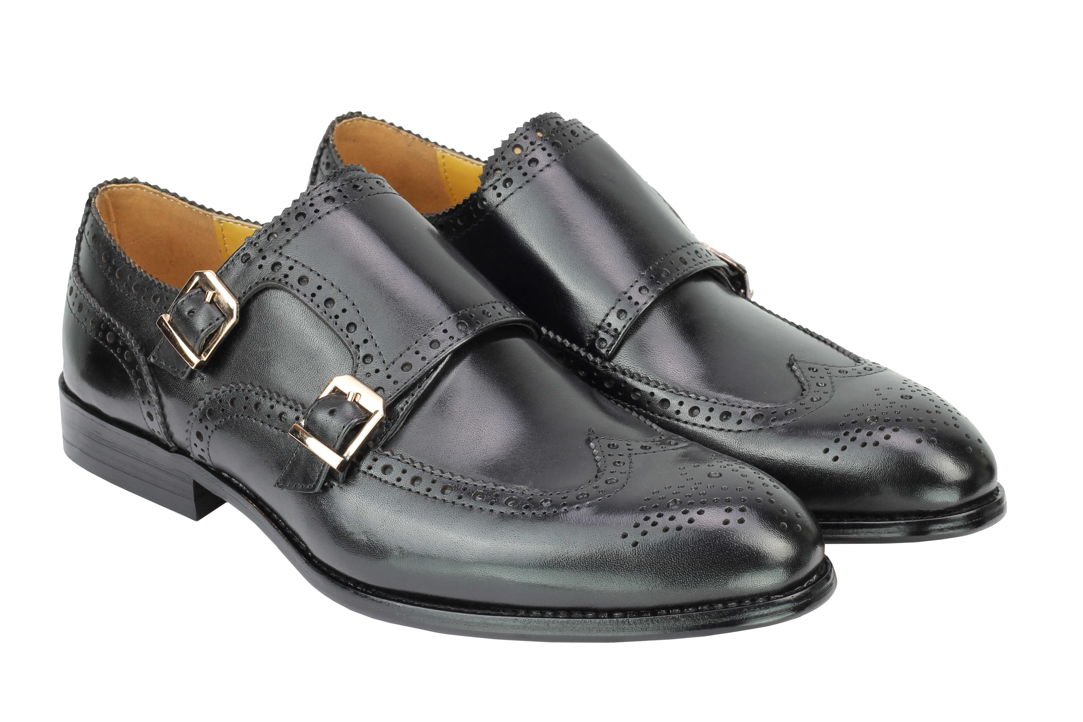 Vintage-pour-homme-Noir-Marron-En-Cuir-Veritable-Richelieu-a-Moine-Chaussures-elegant-Formel-Lacet miniature 3