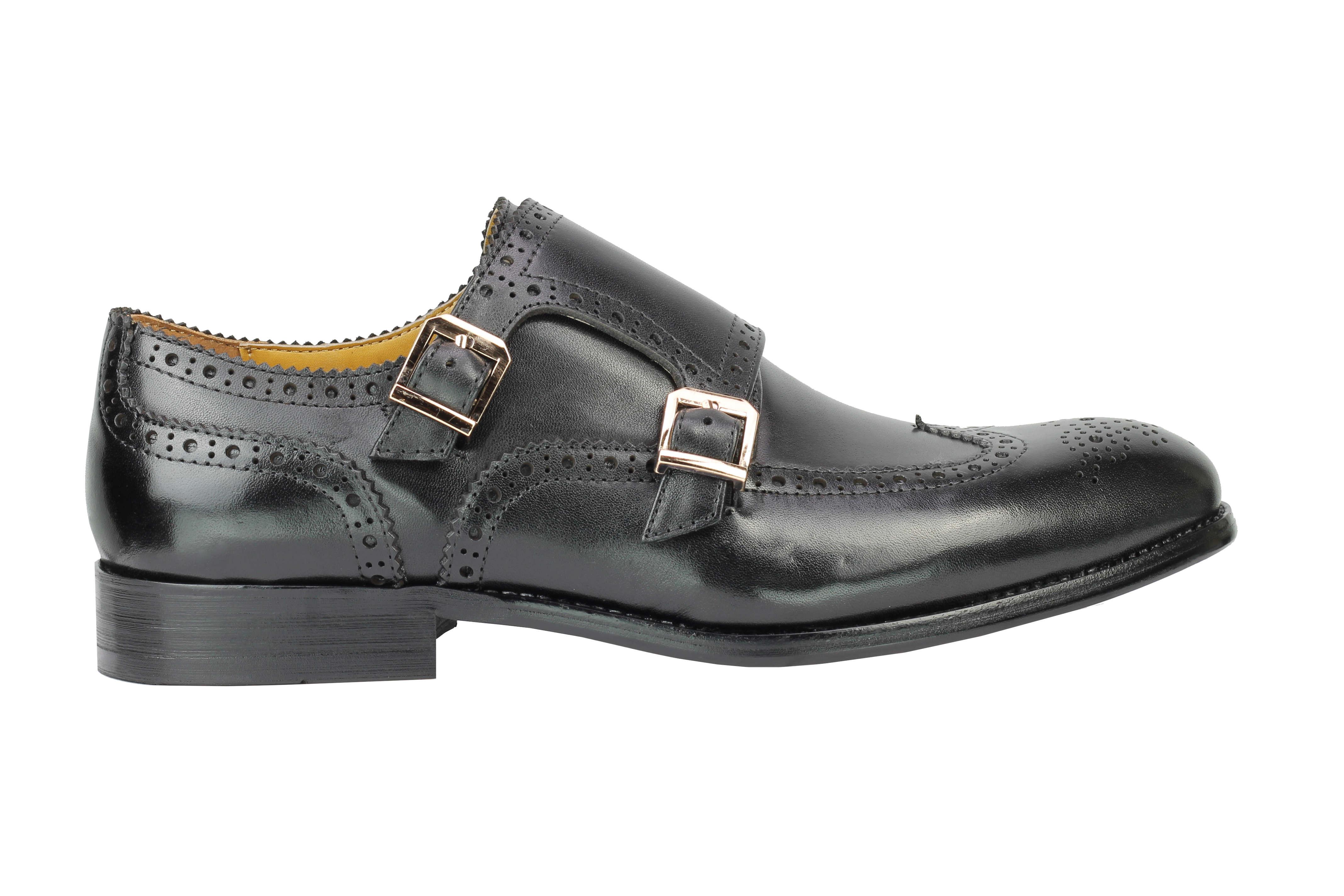 Vintage-pour-homme-Noir-Marron-En-Cuir-Veritable-Richelieu-a-Moine-Chaussures-elegant-Formel-Lacet miniature 4