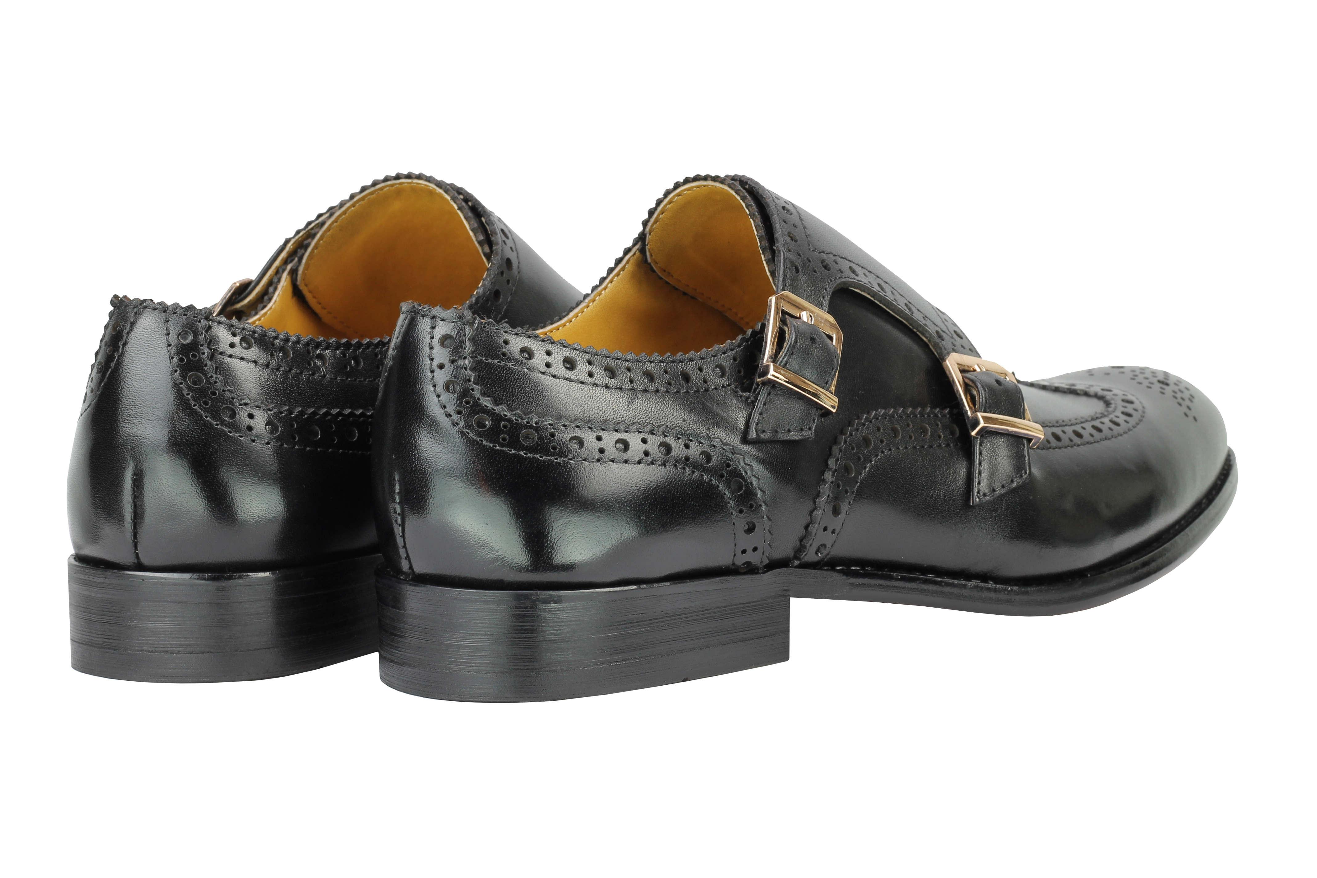 Vintage-pour-homme-Noir-Marron-En-Cuir-Veritable-Richelieu-a-Moine-Chaussures-elegant-Formel-Lacet miniature 6
