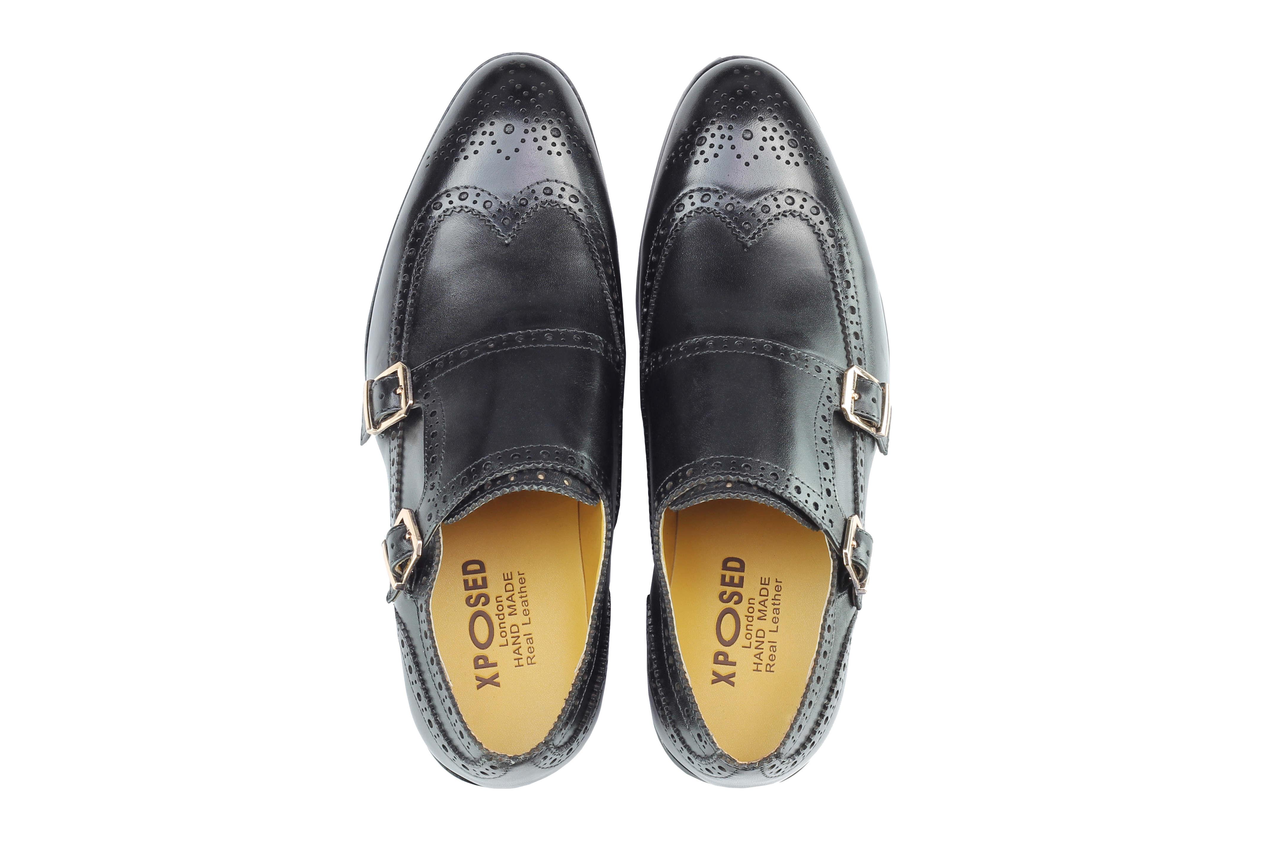 Vintage-pour-homme-Noir-Marron-En-Cuir-Veritable-Richelieu-a-Moine-Chaussures-elegant-Formel-Lacet miniature 8