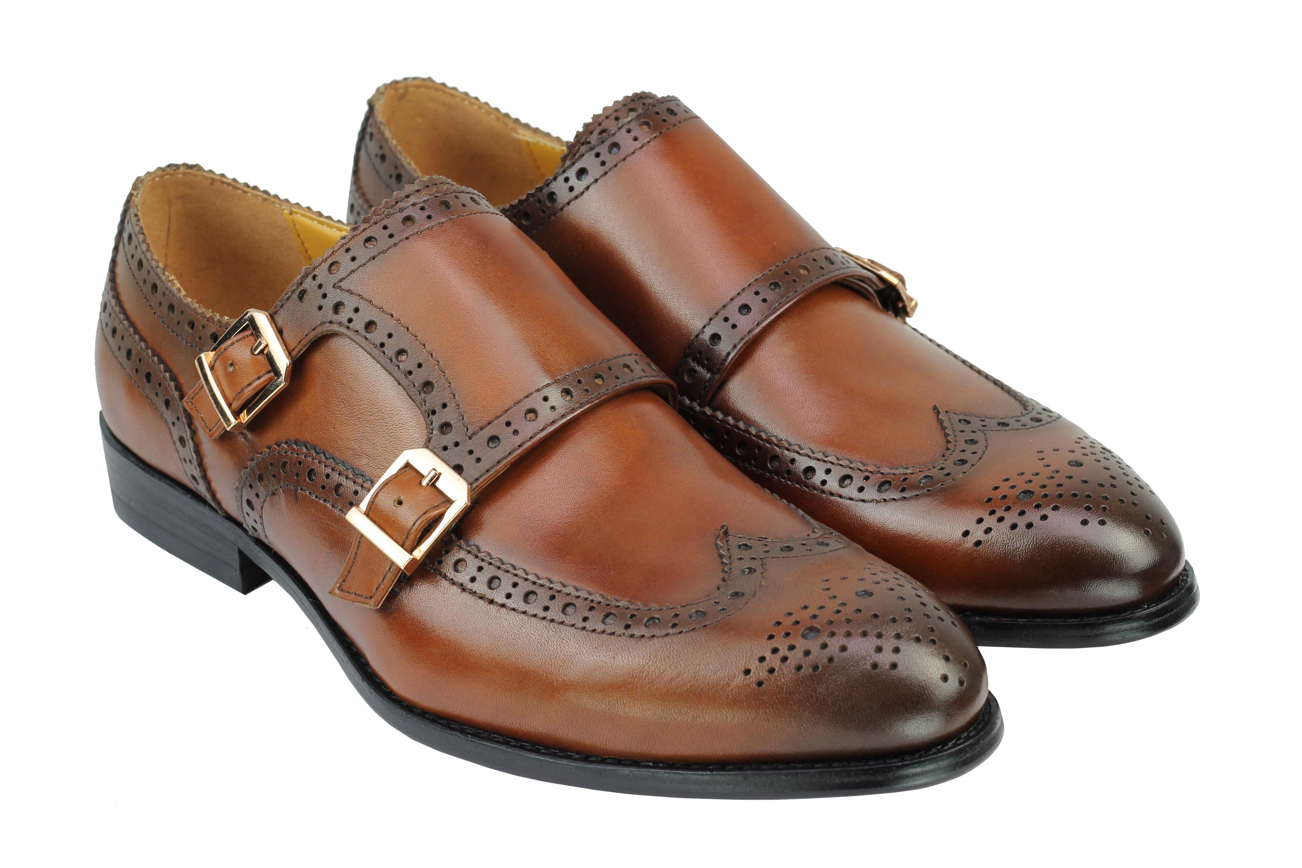 Vintage-pour-homme-Noir-Marron-En-Cuir-Veritable-Richelieu-a-Moine-Chaussures-elegant-Formel-Lacet miniature 10