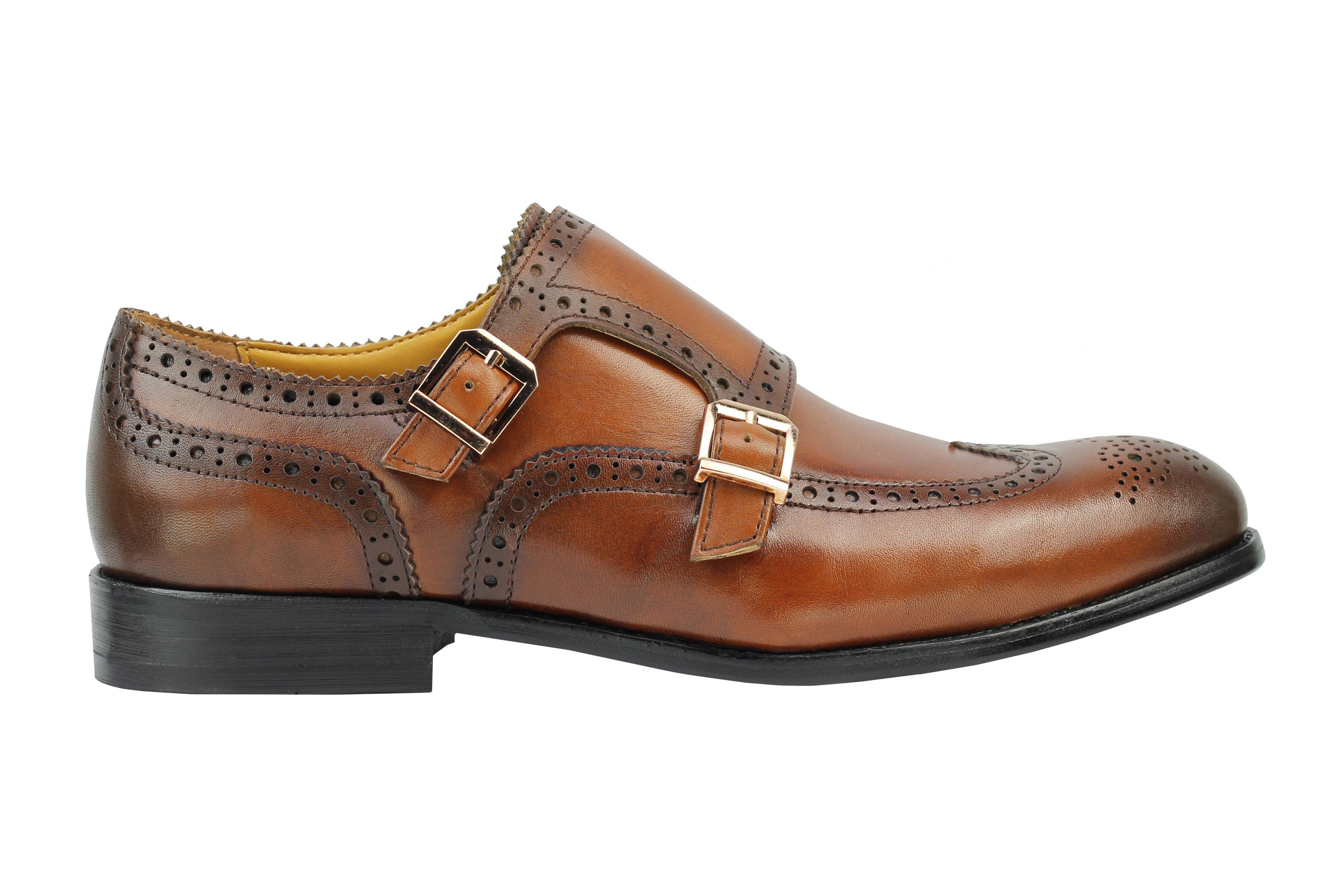 Vintage-pour-homme-Noir-Marron-En-Cuir-Veritable-Richelieu-a-Moine-Chaussures-elegant-Formel-Lacet miniature 11