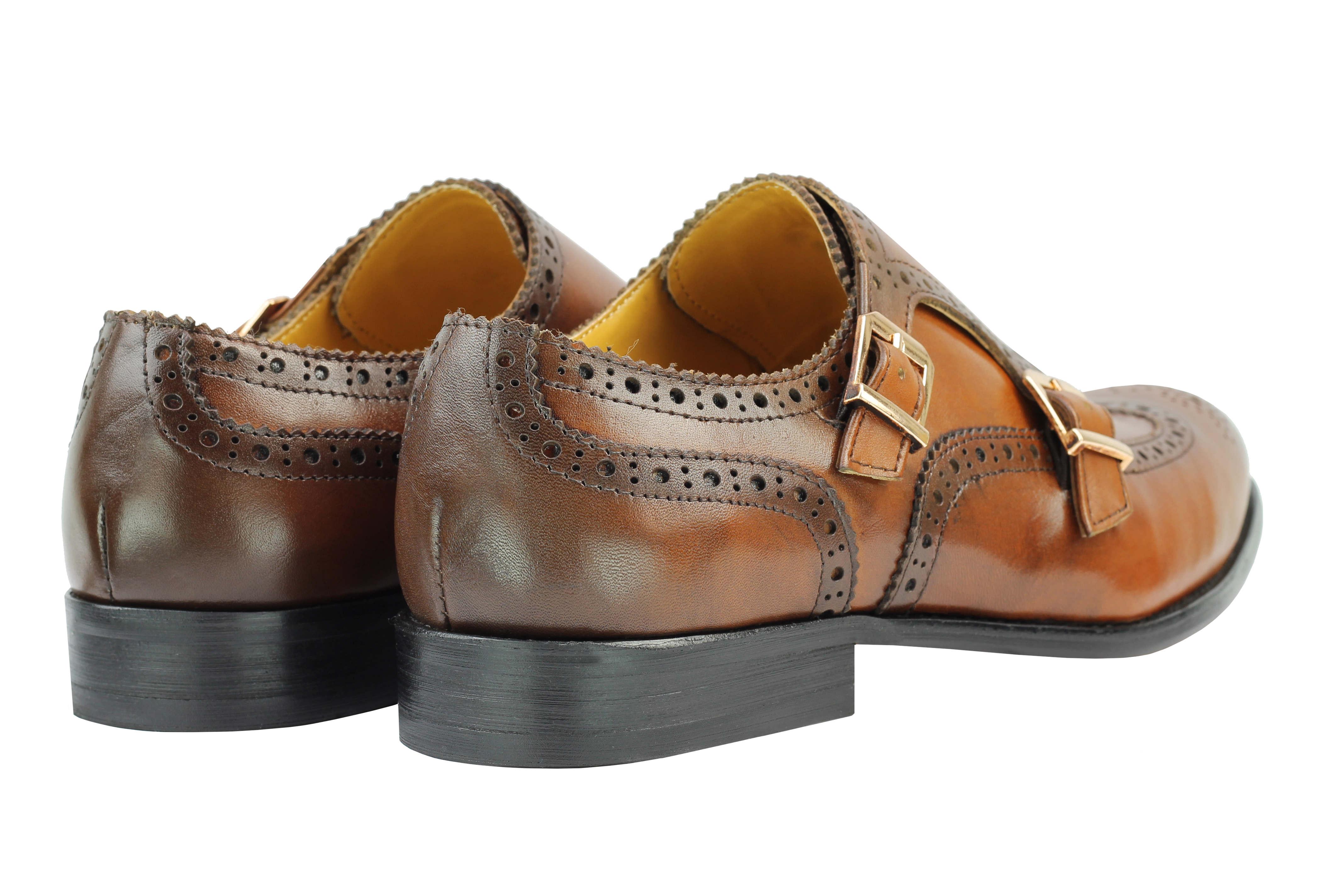 Vintage-pour-homme-Noir-Marron-En-Cuir-Veritable-Richelieu-a-Moine-Chaussures-elegant-Formel-Lacet miniature 13
