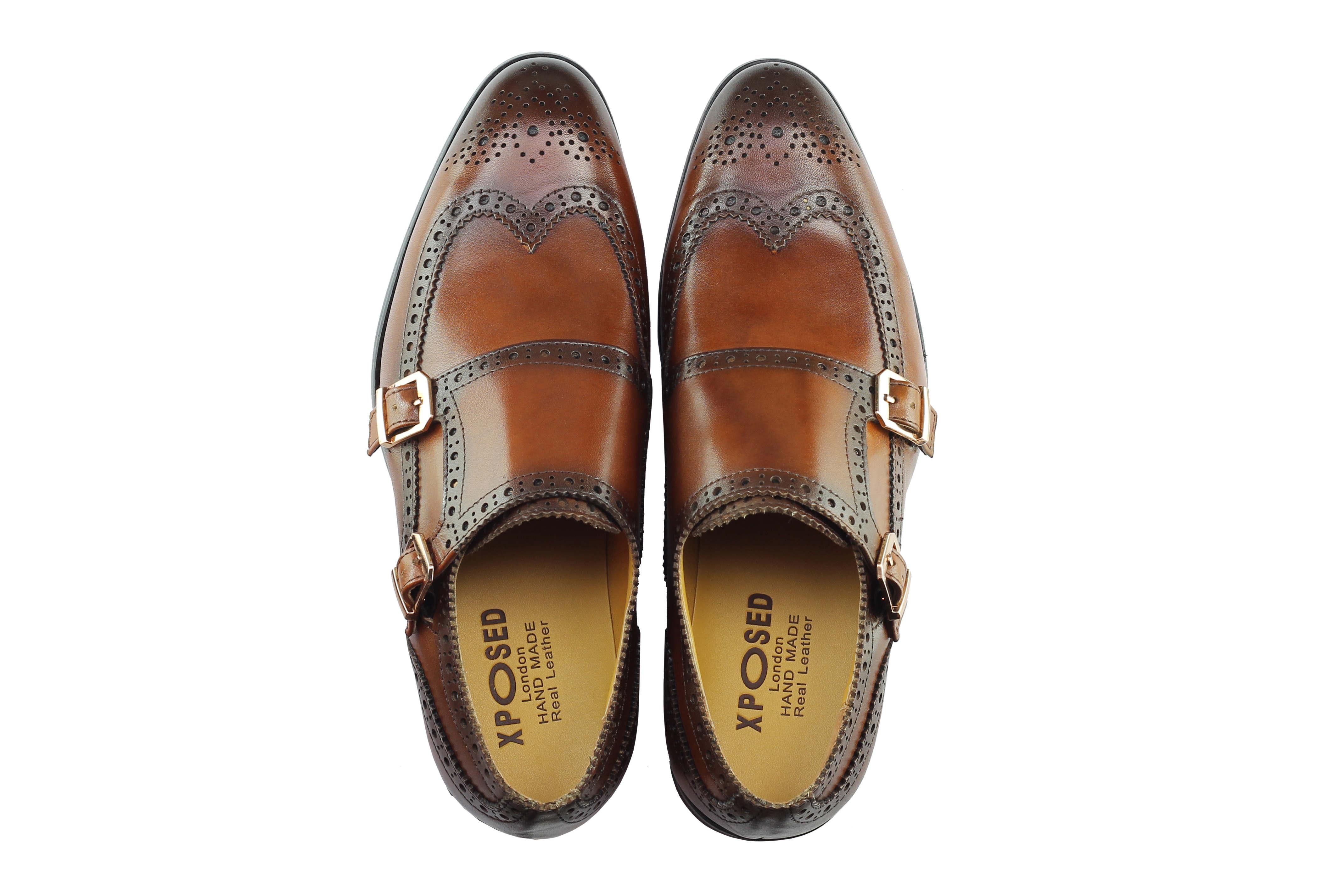 Vintage-pour-homme-Noir-Marron-En-Cuir-Veritable-Richelieu-a-Moine-Chaussures-elegant-Formel-Lacet miniature 15