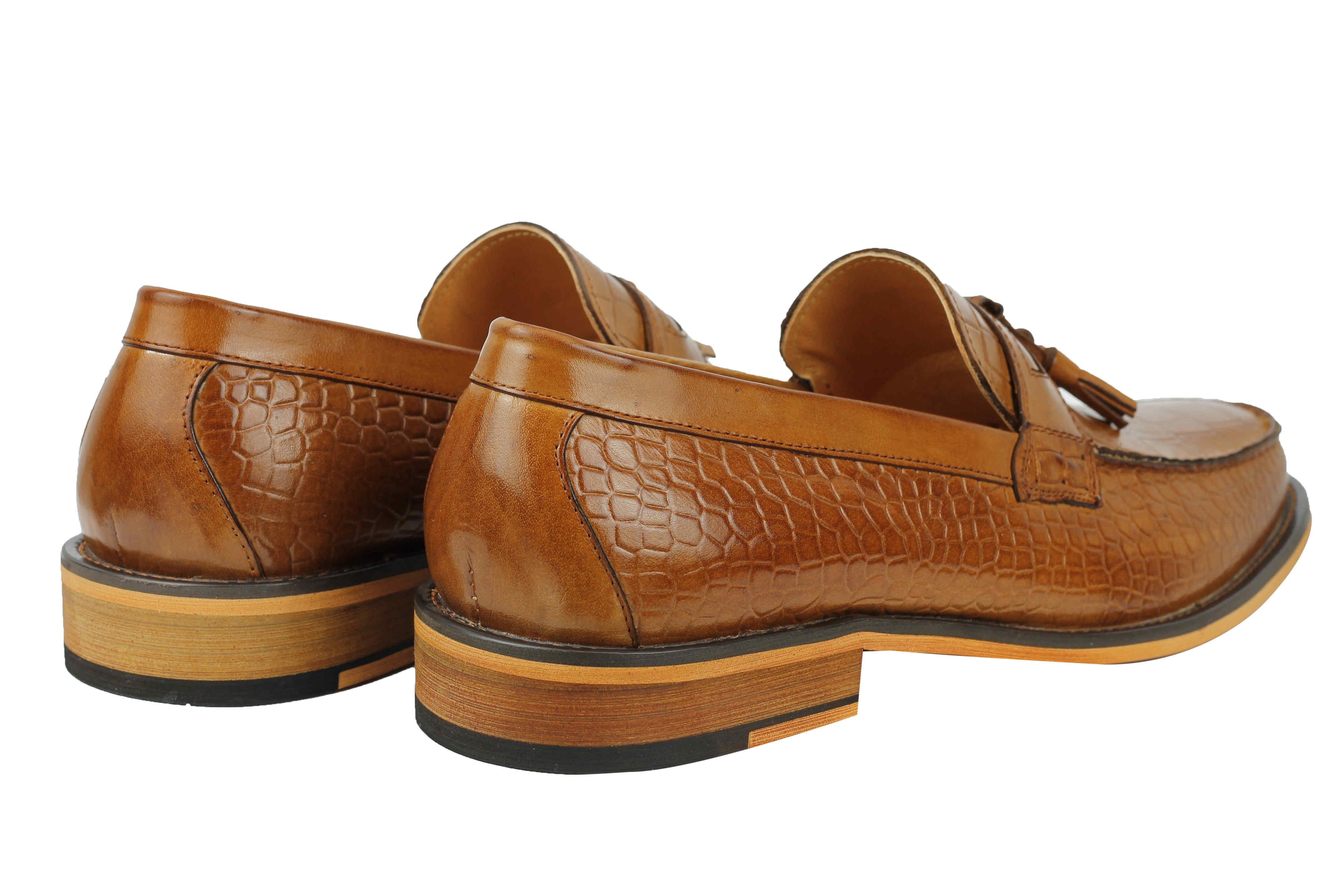 8bbfd36ebbb Mens Snakeskin Print Real Leather Slip on Tassel Loafers Brown Black ...