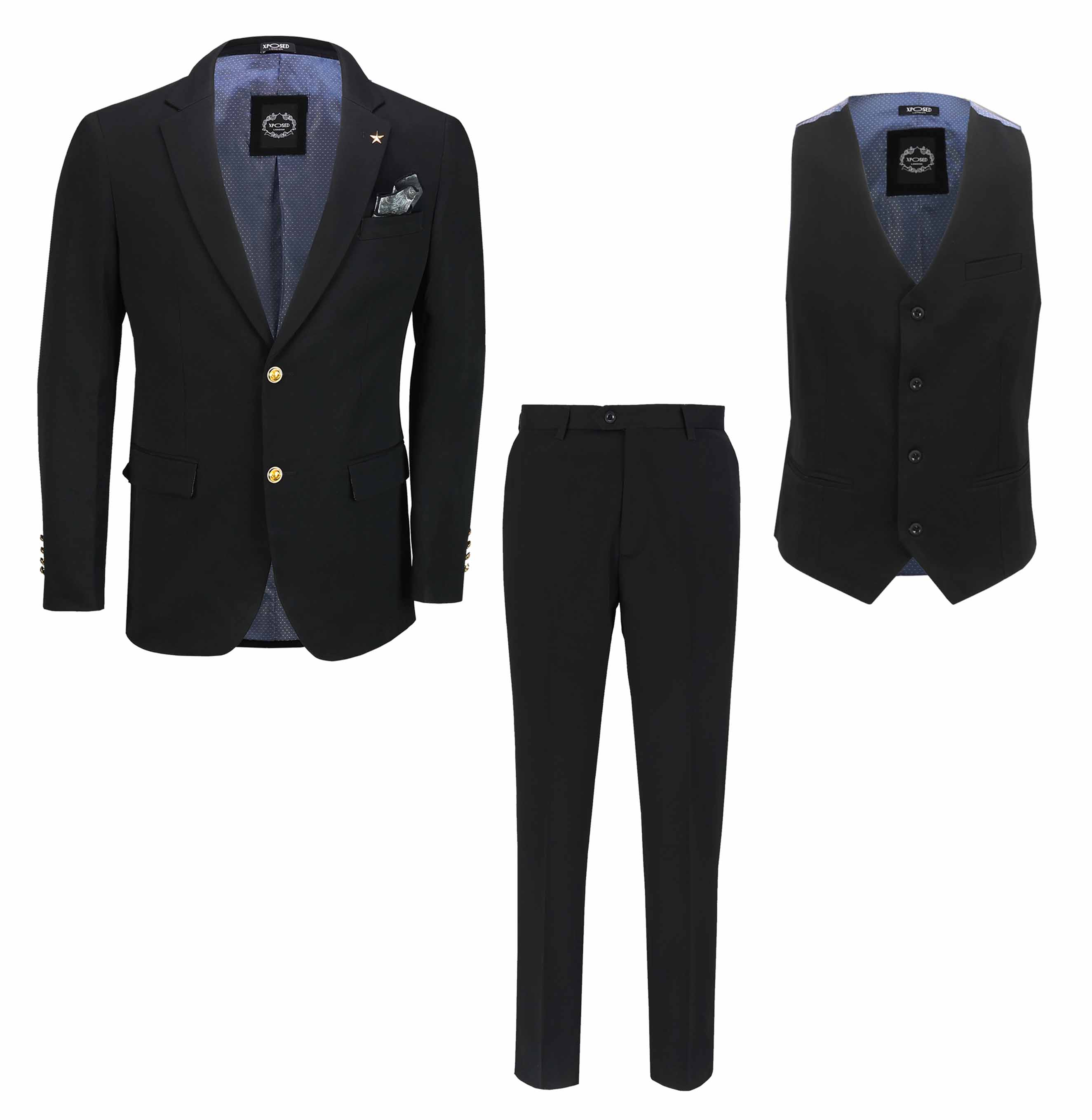 Details about Mens Black Blazer Gold Buttons Classic Smart Casual Tailored  Fit Suit Jacket