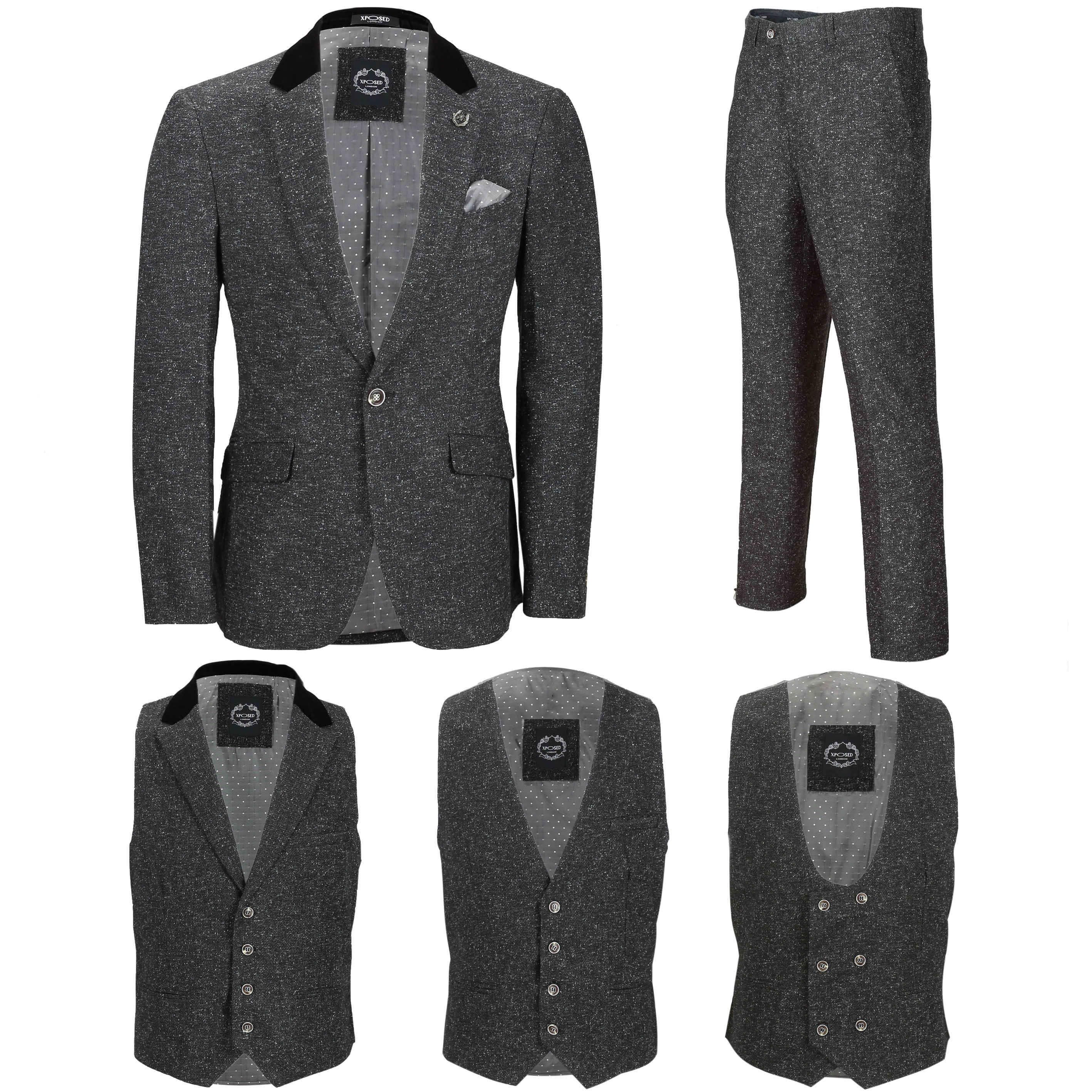 Mens Grey Tweed Wool 3 Piece Suit Sold Separately Retro Blazer
