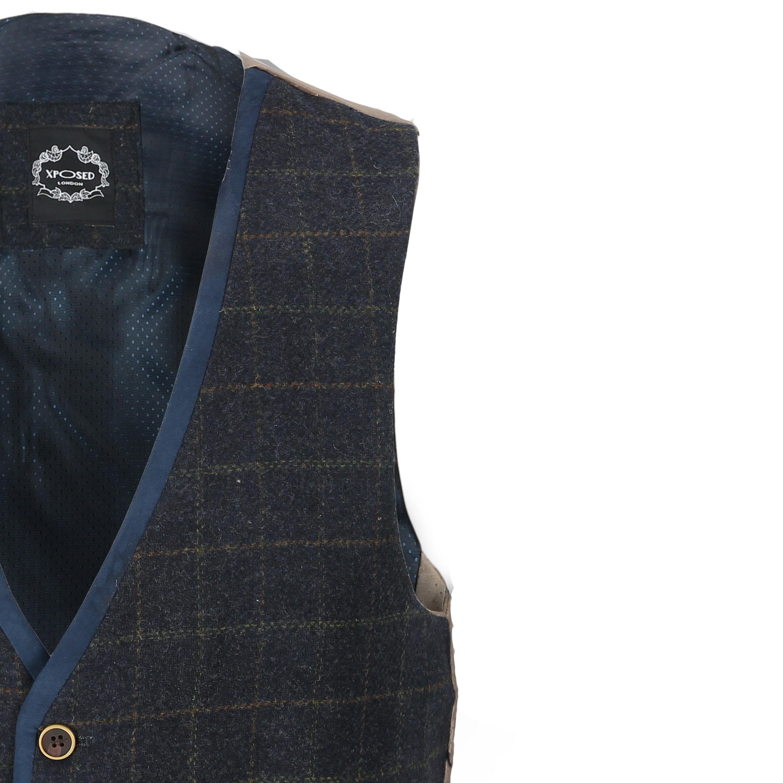 Mens-Azul-Tweed-cheque-3-Piezas-Traje-Chaqueta-Pantalon-Chaleco-se-vende-como-por-separado miniatura 16