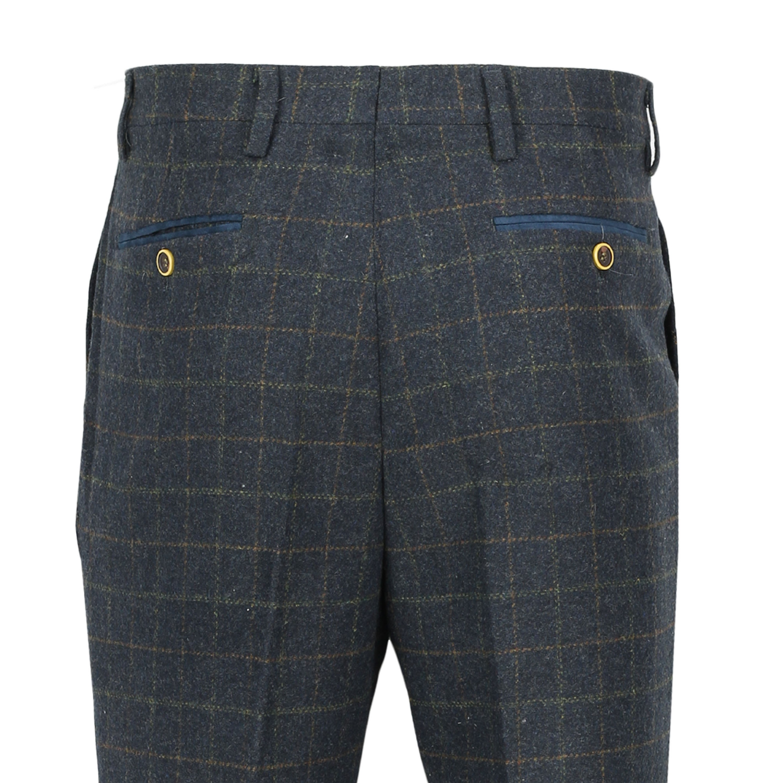 Mens-Azul-Tweed-cheque-3-Piezas-Traje-Chaqueta-Pantalon-Chaleco-se-vende-como-por-separado miniatura 9
