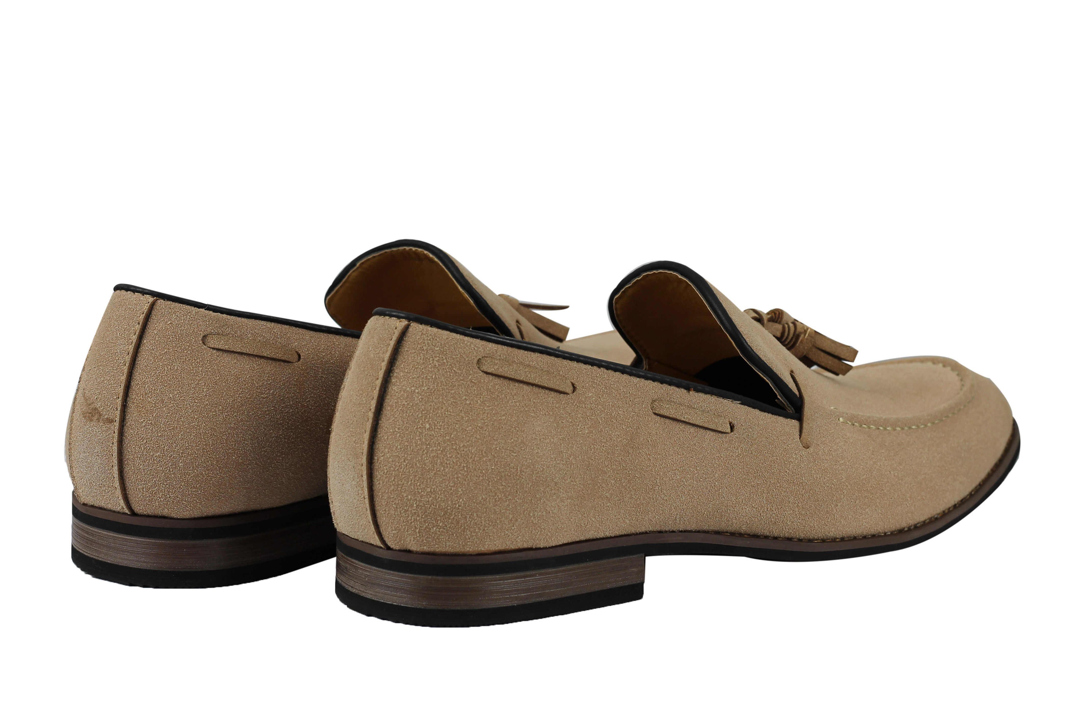 786a7343358 Mens Suede Leather Line Tassel Loafers Vintage Smart Retro Slip on ...