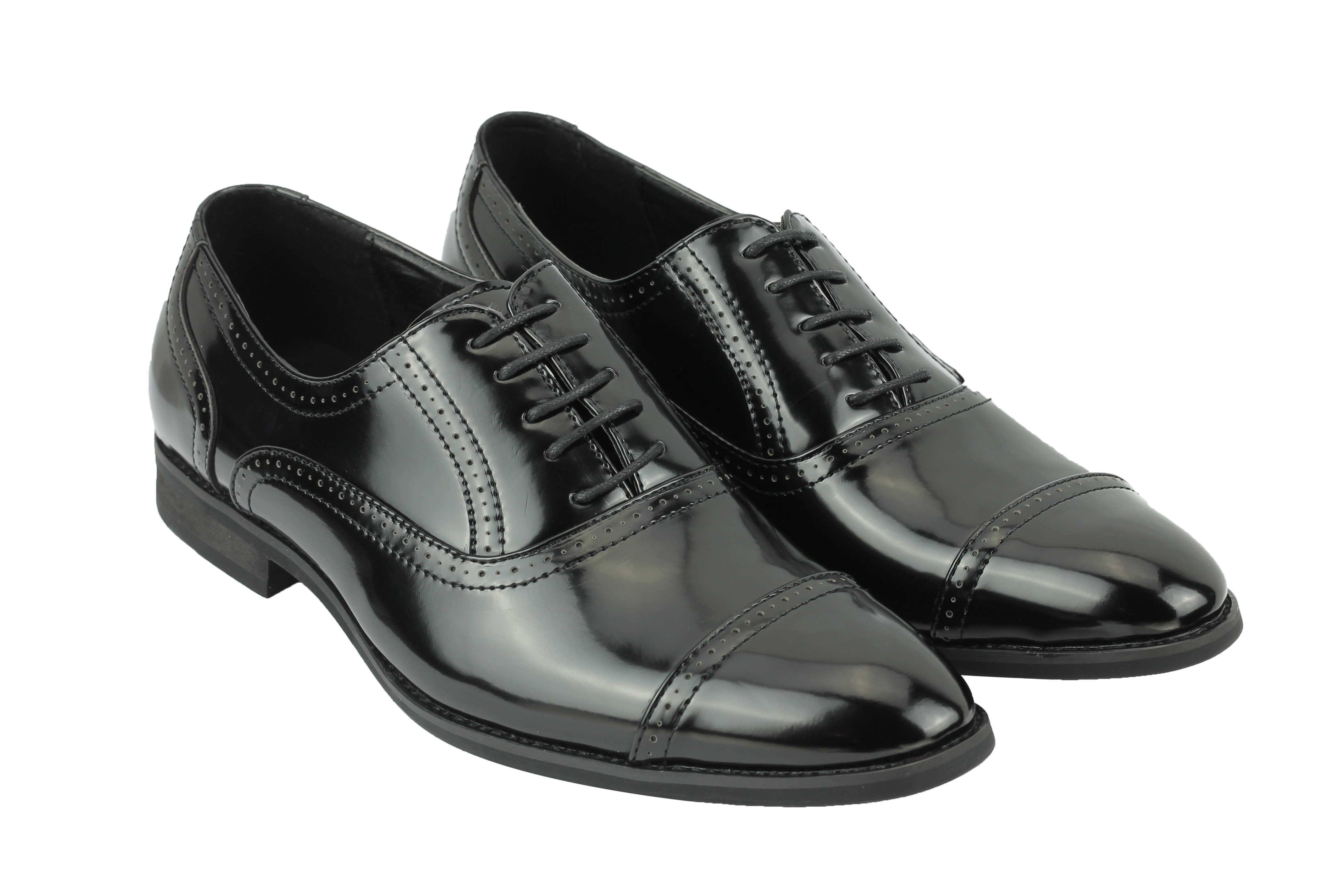 Mens Patent Leather Brogues Black Brown Smart Casual Lace up Shoes 6 ... 97311ccb3bbc