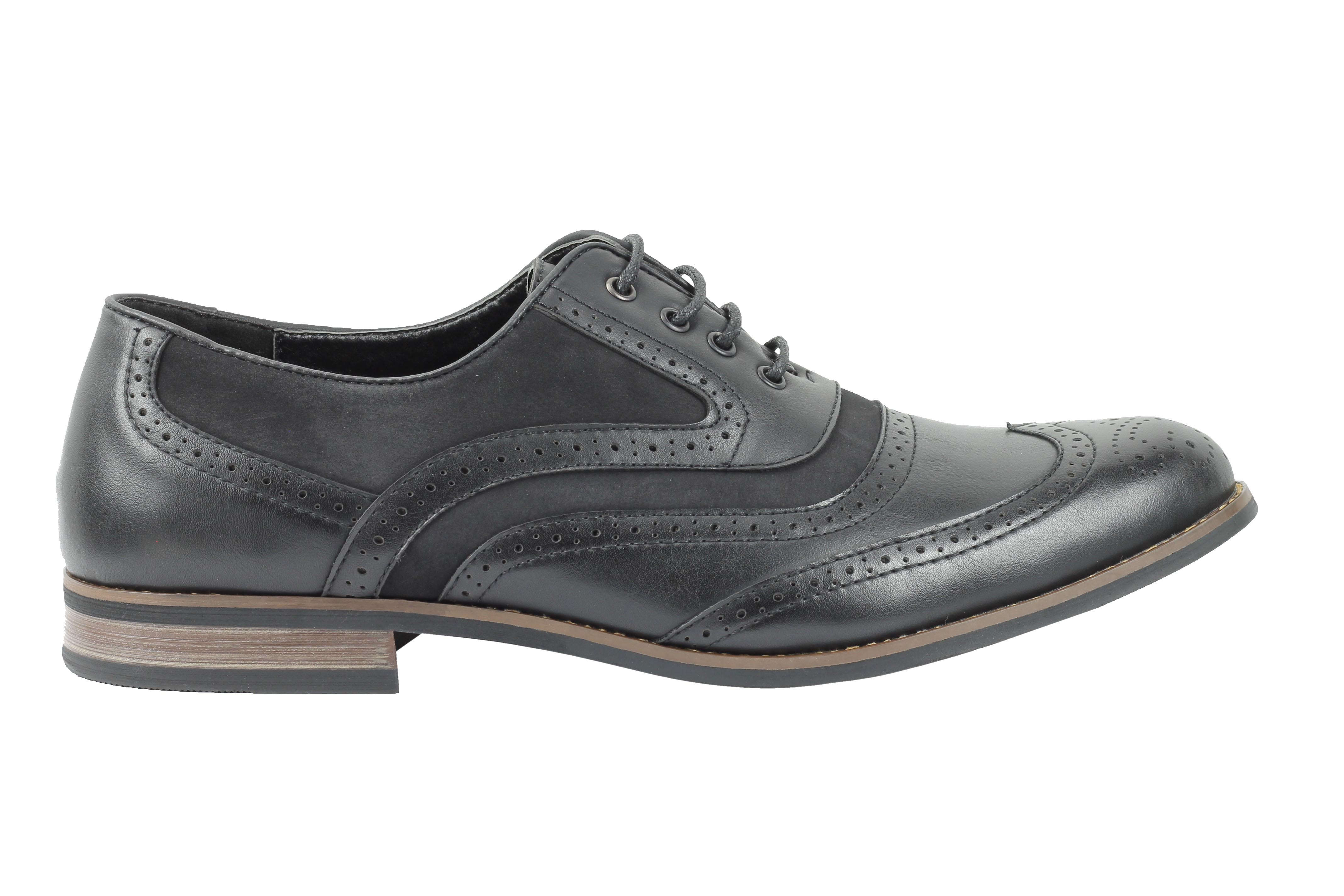 Mens-Retro-Vintage-Wing-Tip-Leather-Brogue-Smart-Casual-Office-Shoes-UK-Sizes thumbnail 4