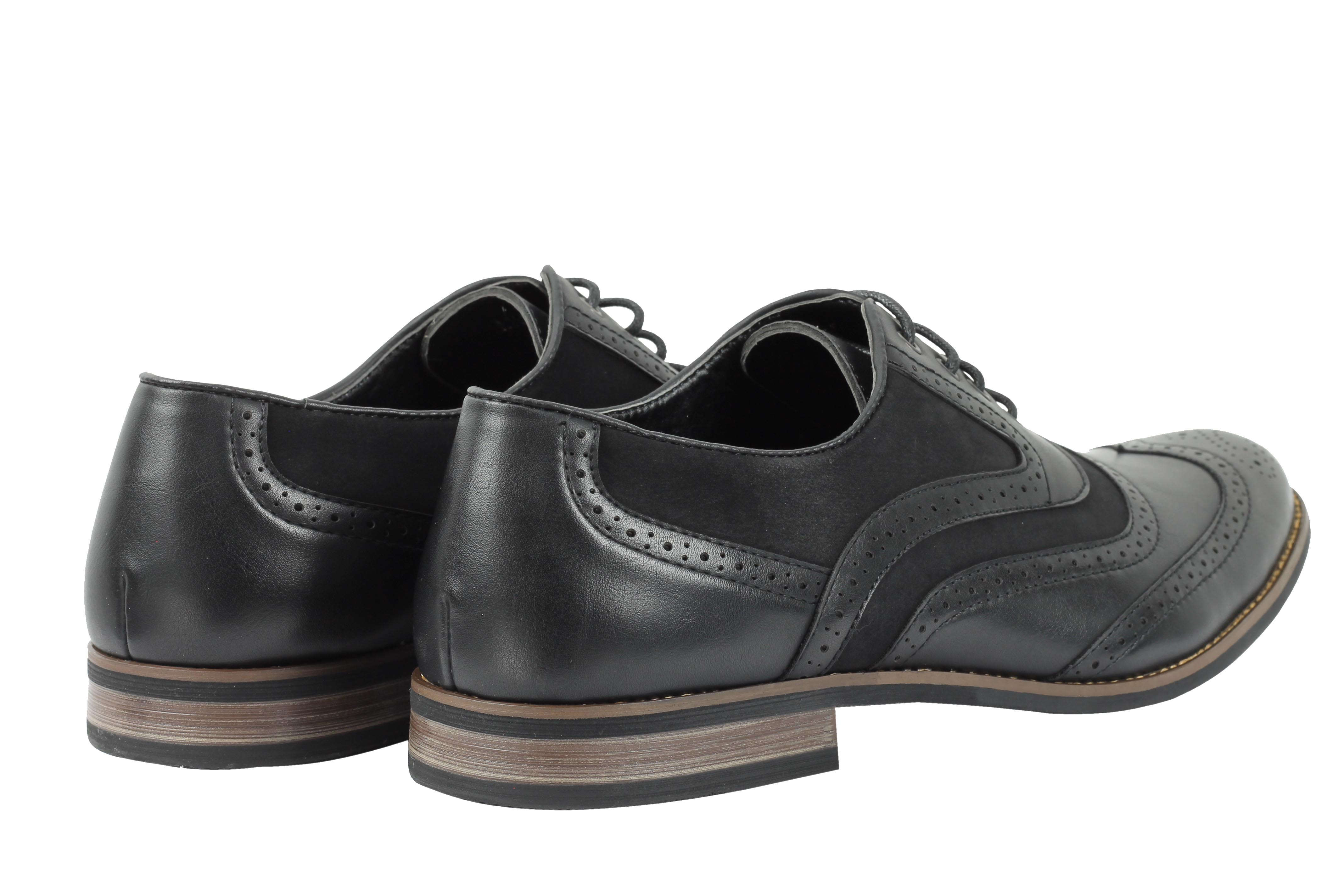 Mens-Retro-Vintage-Wing-Tip-Leather-Brogue-Smart-Casual-Office-Shoes-UK-Sizes thumbnail 6