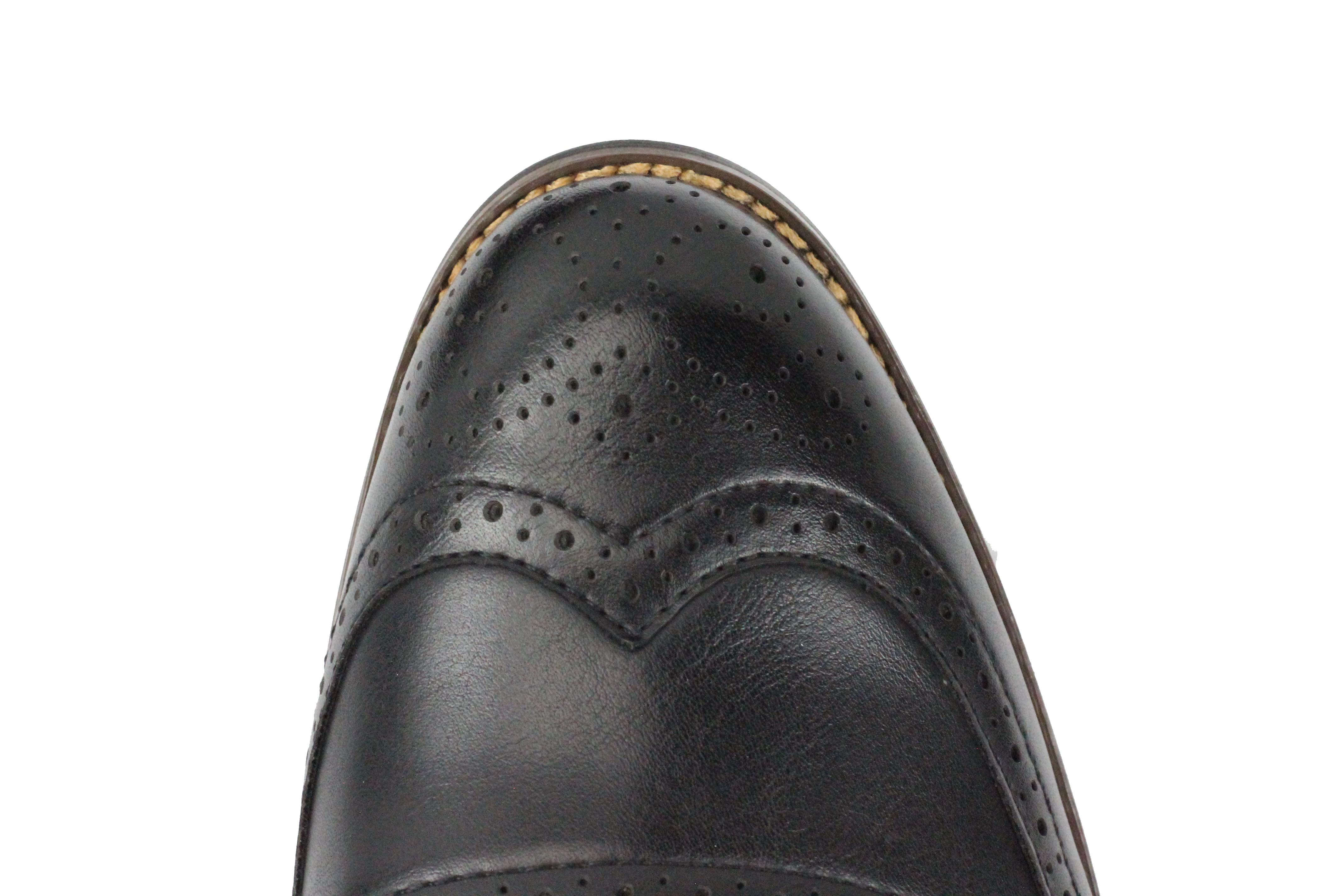 Mens-Retro-Vintage-Wing-Tip-Leather-Brogue-Smart-Casual-Office-Shoes-UK-Sizes thumbnail 7