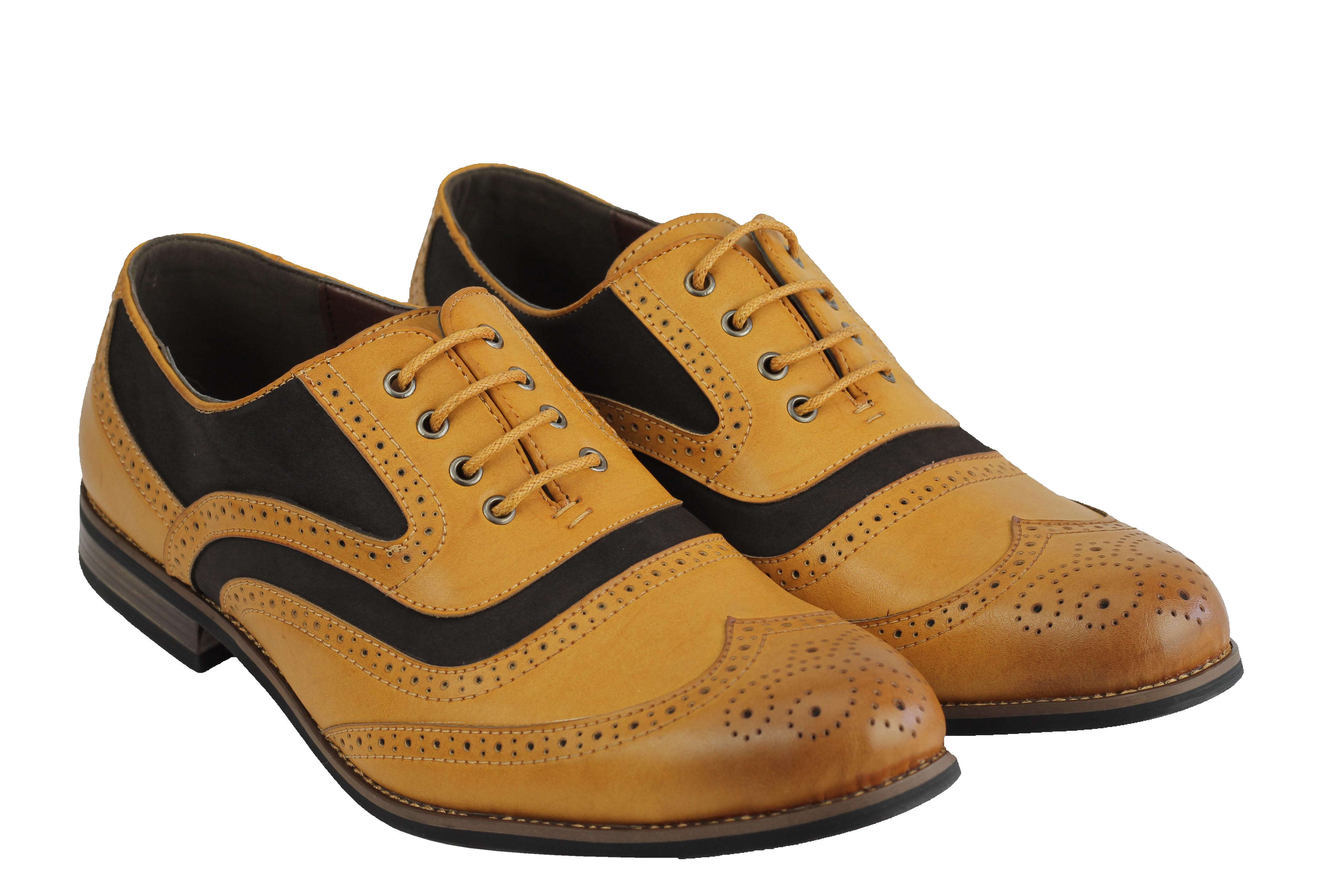 Mens-Retro-Vintage-Wing-Tip-Leather-Brogue-Smart-Casual-Office-Shoes-UK-Sizes thumbnail 9