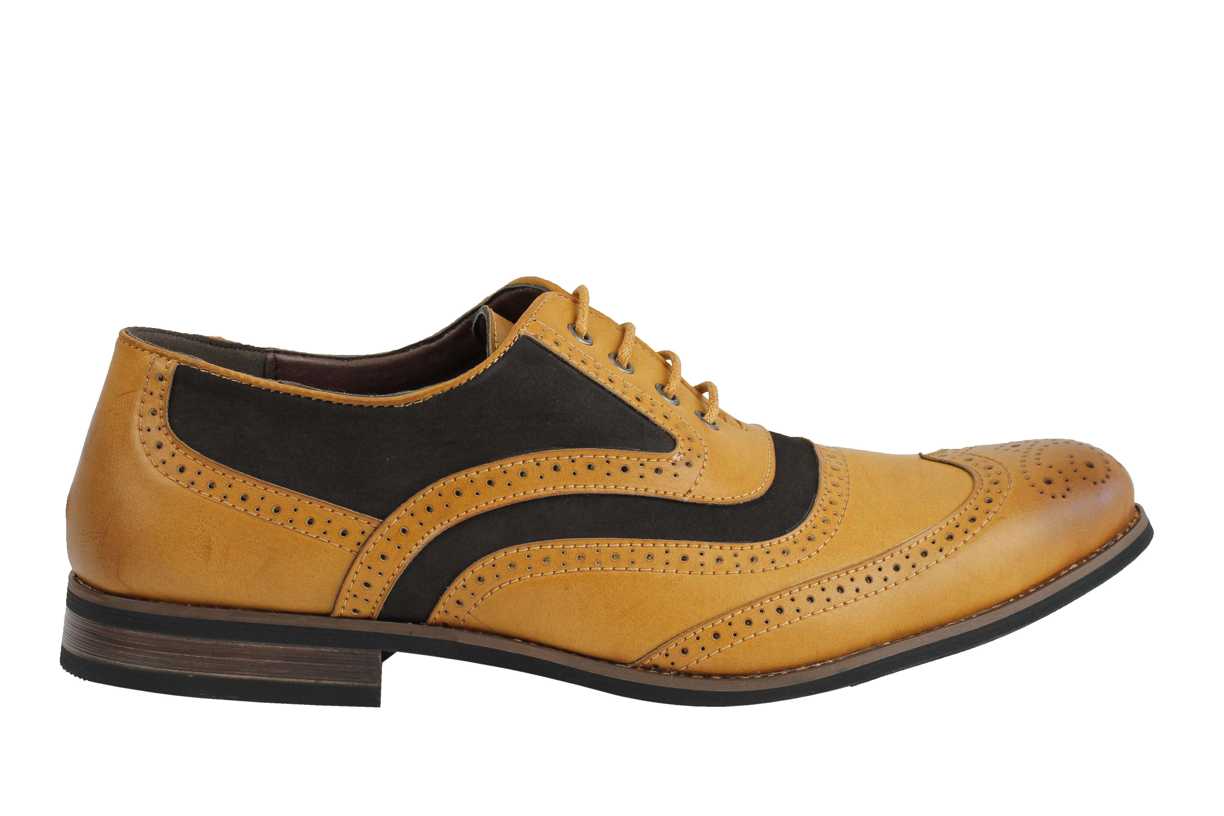 Mens-Retro-Vintage-Wing-Tip-Leather-Brogue-Smart-Casual-Office-Shoes-UK-Sizes thumbnail 10