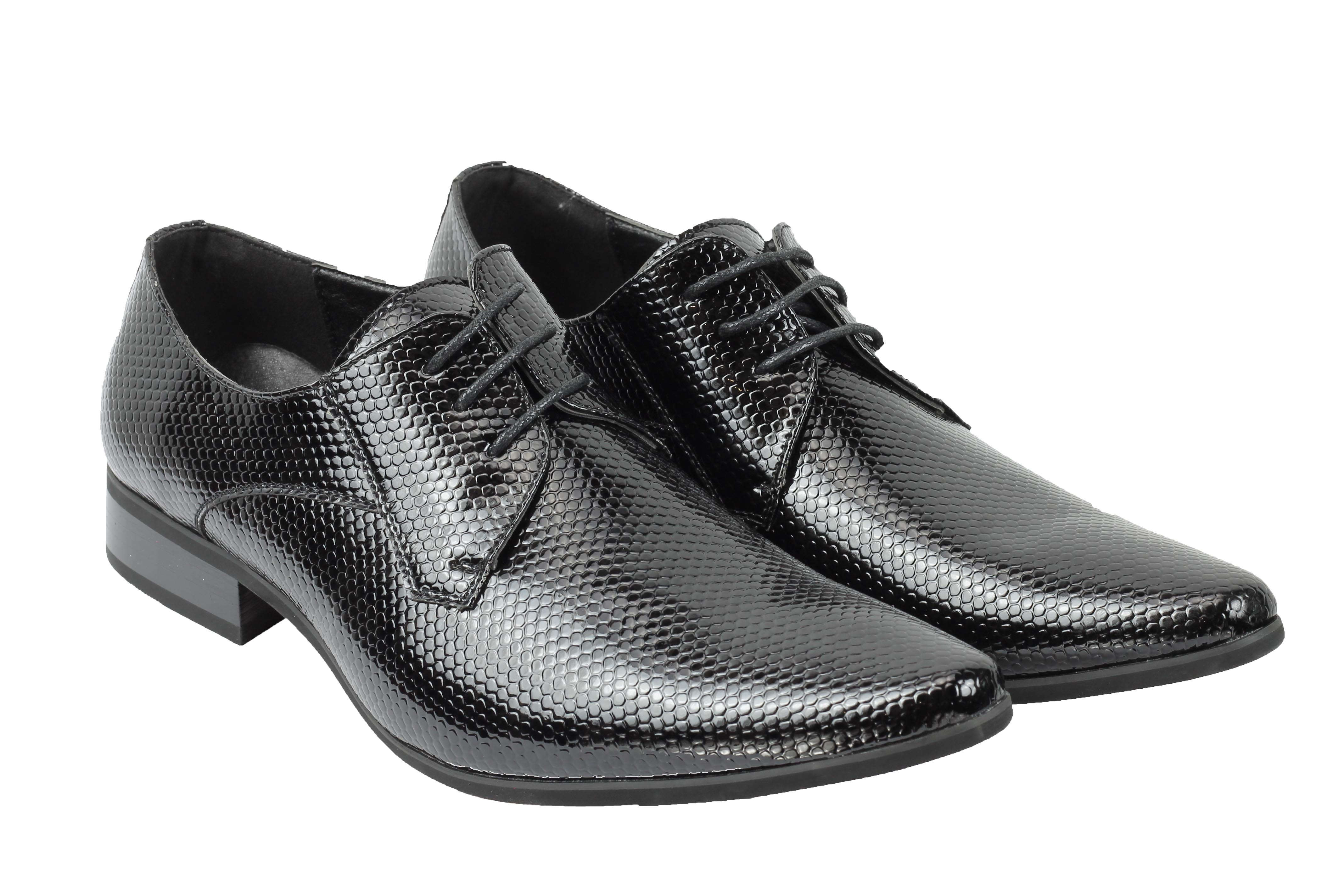 Mens-Leather-Lined-Snake-Skin-Print-Shiny-Patent-Leather-Smart-Party-Retro-Shoes thumbnail 3