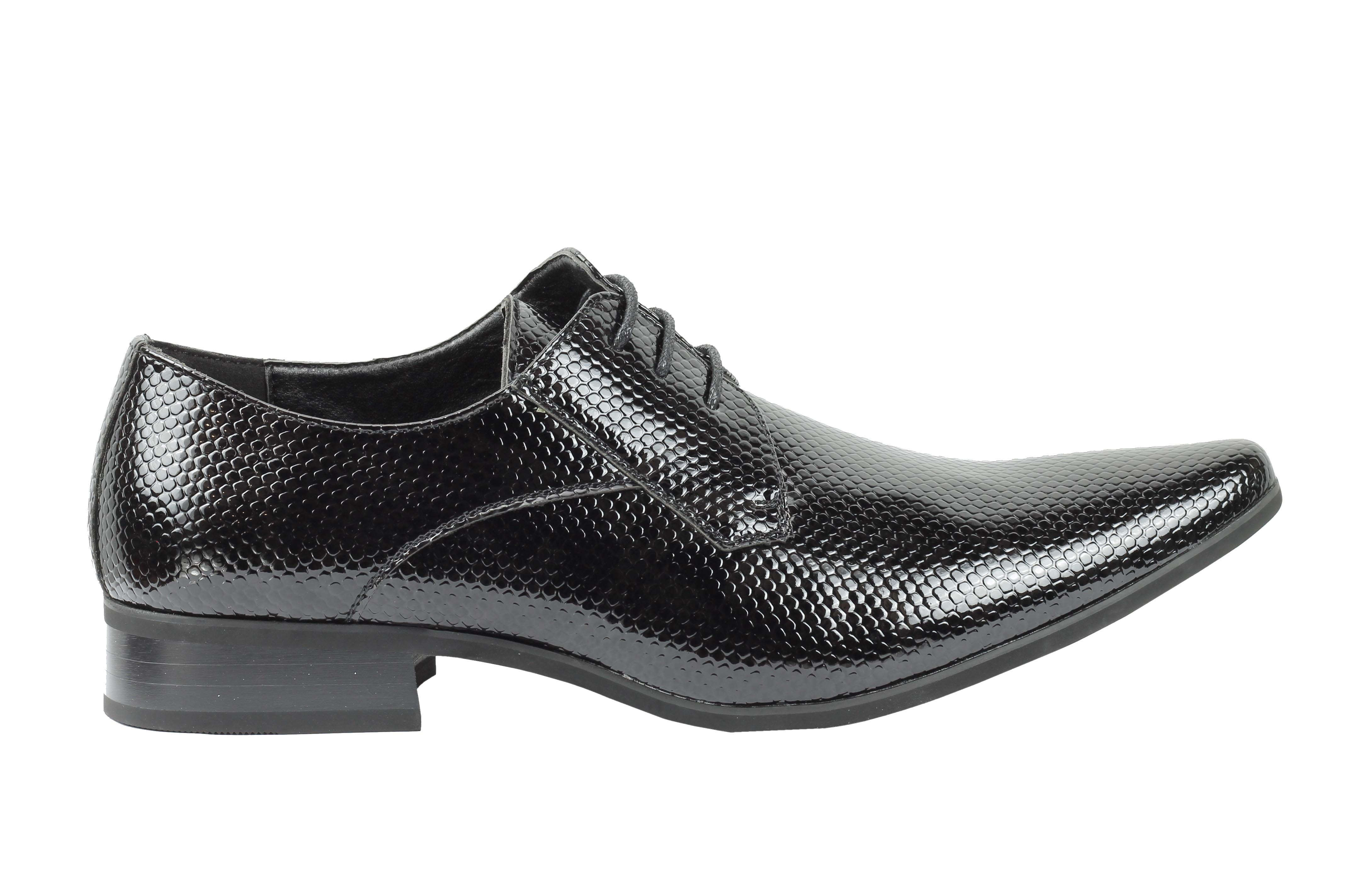 Mens-Leather-Lined-Snake-Skin-Print-Shiny-Patent-Leather-Smart-Party-Retro-Shoes thumbnail 4