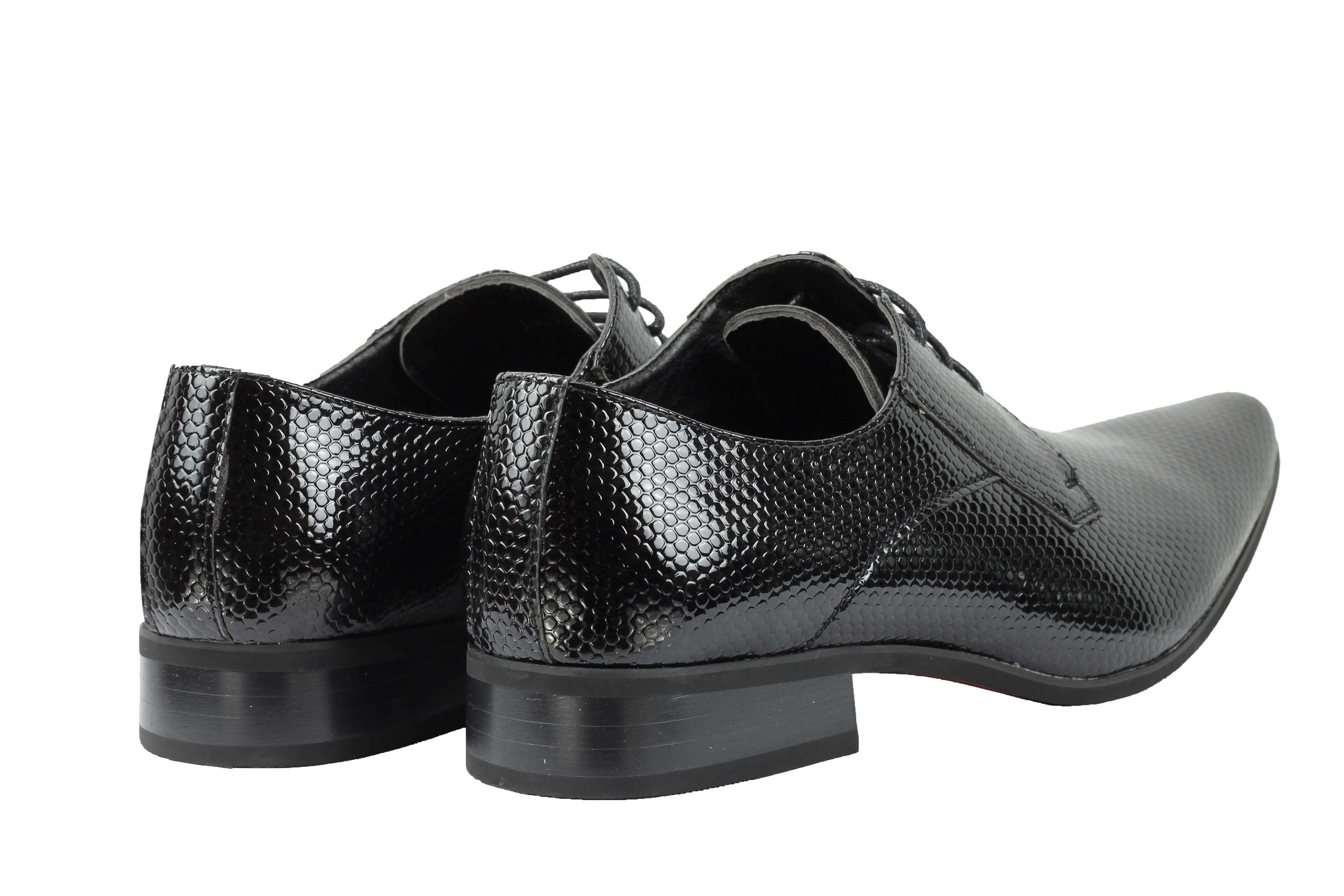 Mens-Leather-Lined-Snake-Skin-Print-Shiny-Patent-Leather-Smart-Party-Retro-Shoes thumbnail 6