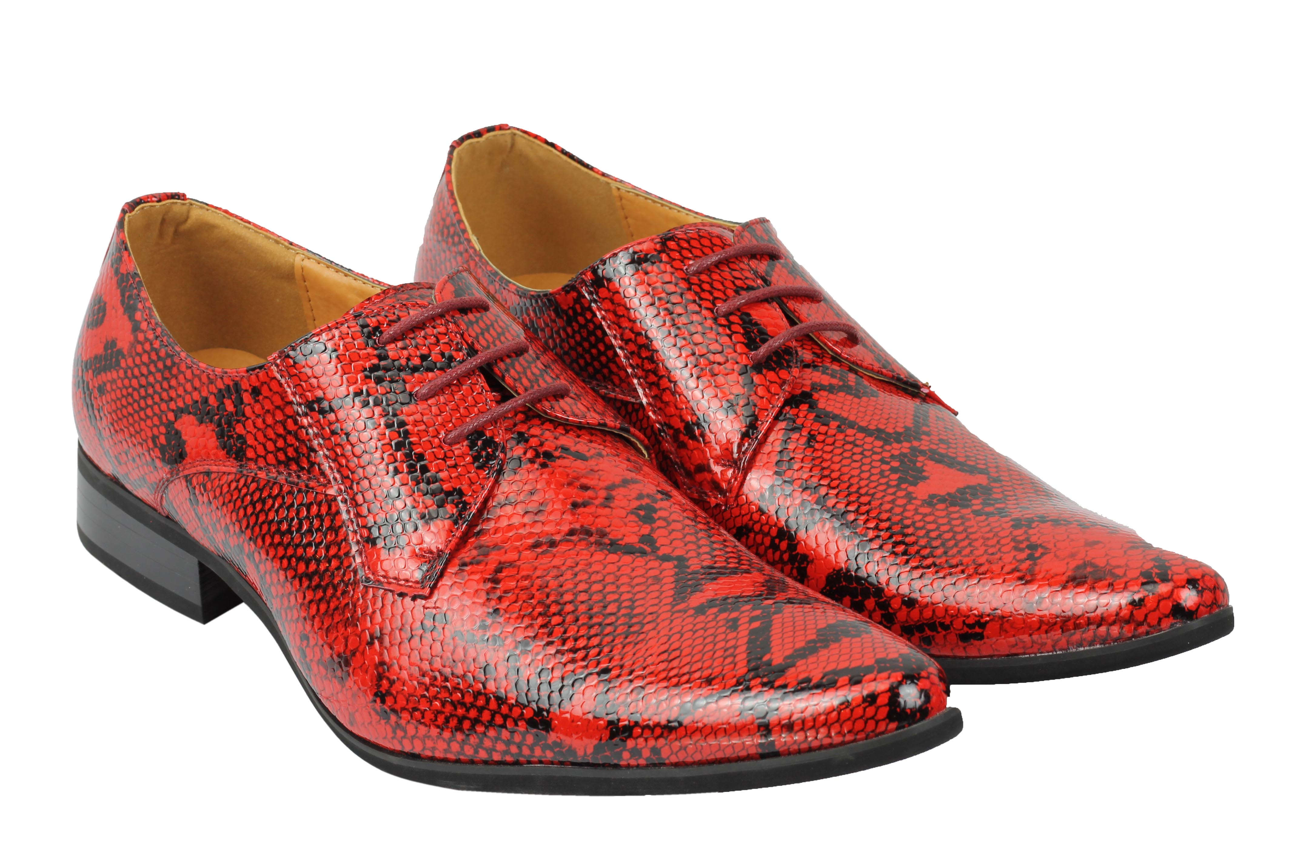 Mens-Leather-Lined-Snake-Skin-Print-Shiny-Patent-Leather-Smart-Party-Retro-Shoes thumbnail 20